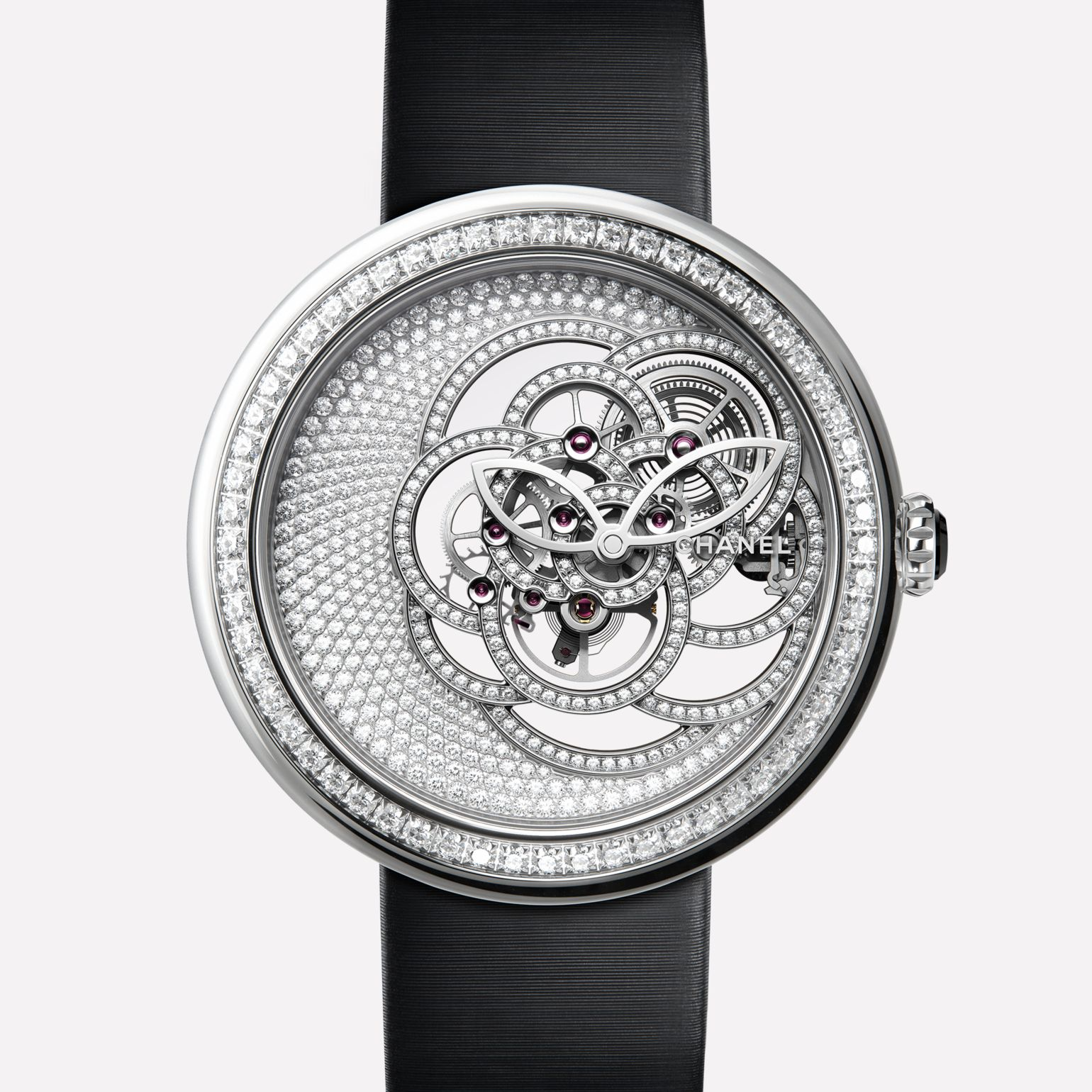 Mademoiselle Privé Camélia Skeleton Watch White gold case, dial and skeleton set with brilliant-cut diamonds