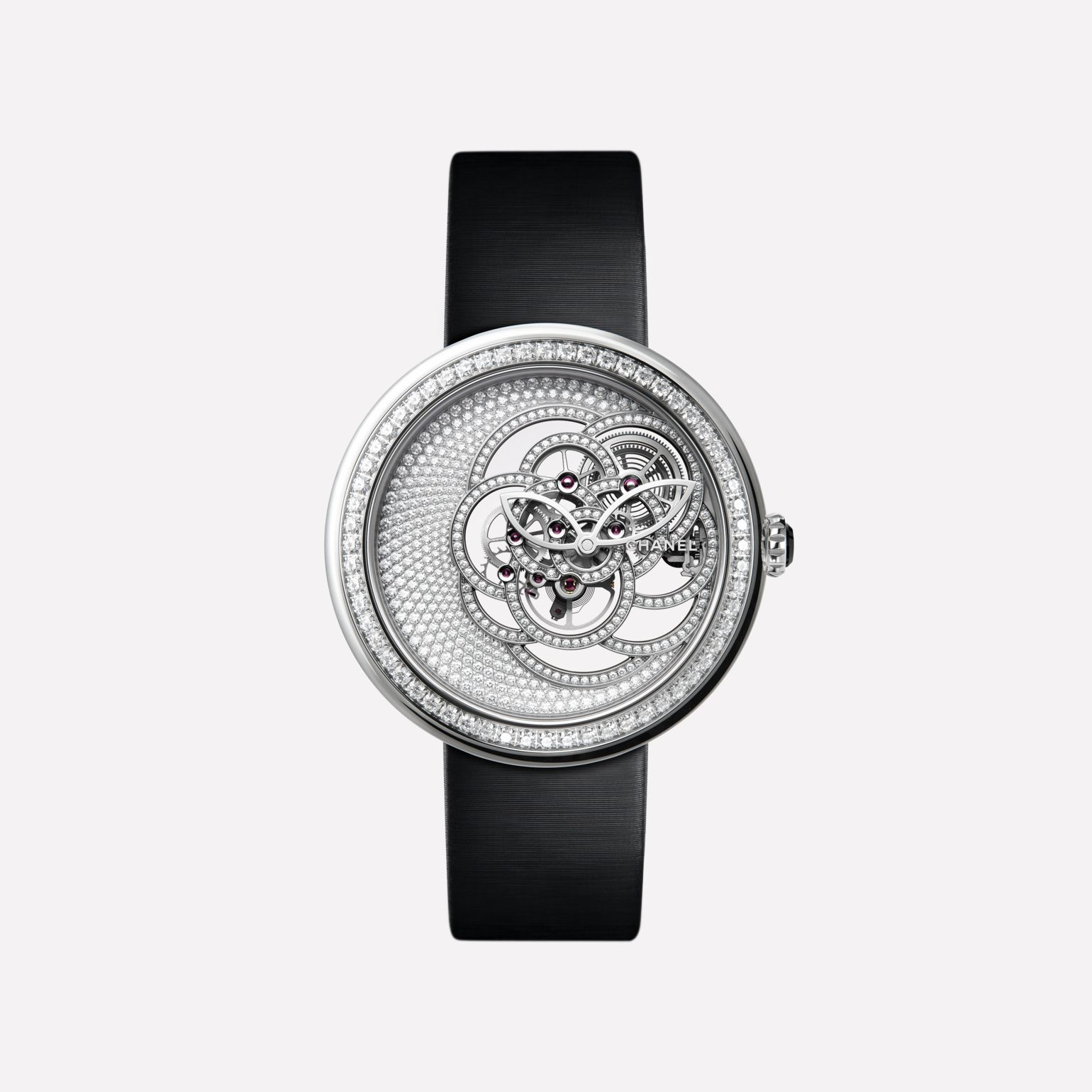 Mademoiselle Privé Camélia Skeleton Watch White gold case, dial and skeleton set with brilliant cut diamonds