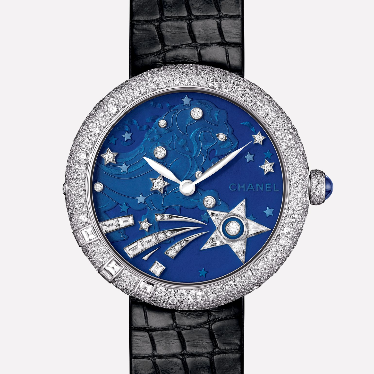 Mademoiselle Privé Watch La Constellation du Lion jewelry - Grand Feu blue translucent enamel dial and diamonds