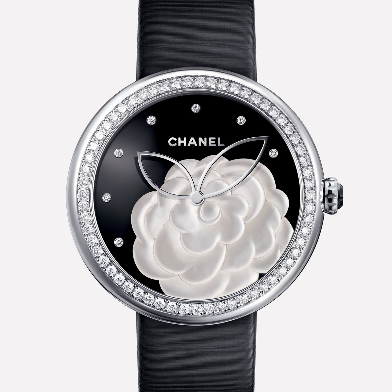 Mademoiselle Privé Watch Pearl marquetry camellia, onyx dial, diamond indicators