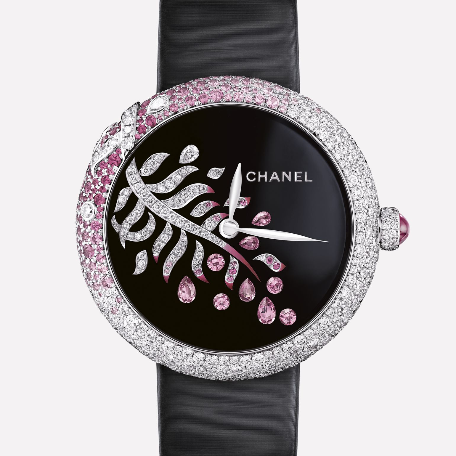 Mademoiselle Privé Watch La Plume Enchantée Jewelry - Grand Feu black enamel dial, diamonds and pink sapphires