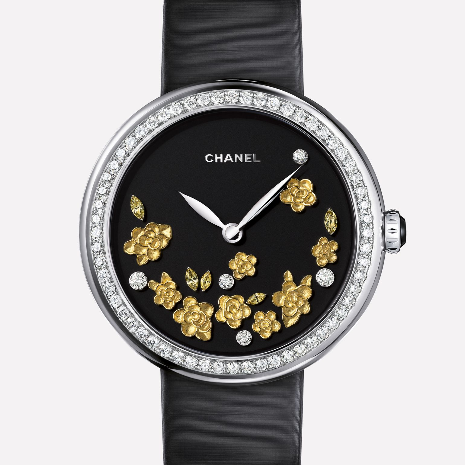 Mademoiselle Privé Watch Camellias engraved in yellow gold, matte black dial, diamonds, and yellow sapphires
