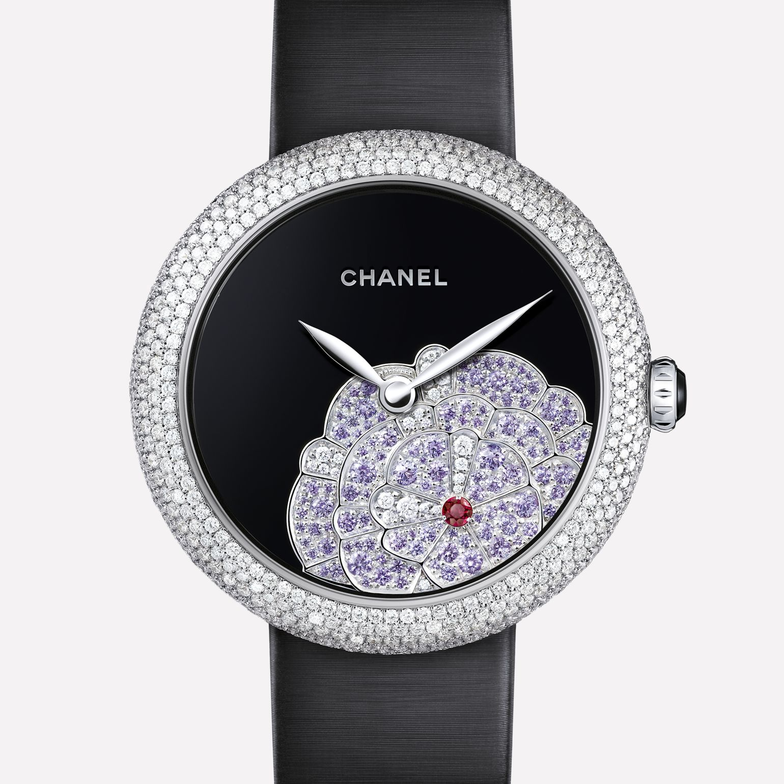 Mademoiselle Privé Watch Origami Camellia jewelry - Onyx, sapphires, diamonds, and rubies