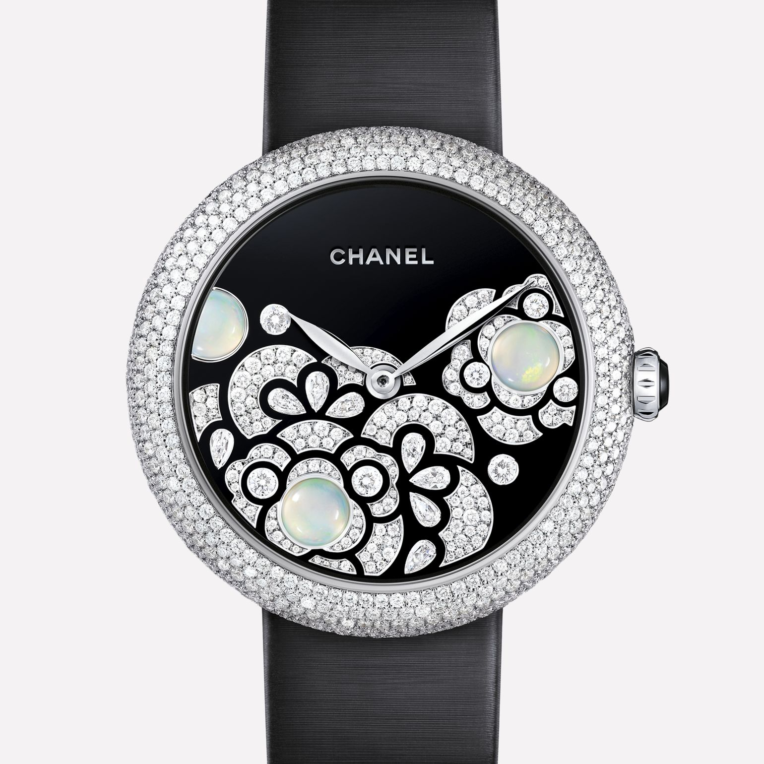 Mademoiselle Privé Watch Pétales de Camélia jewelry - Grand Feu black enamel, diamonds, and opals