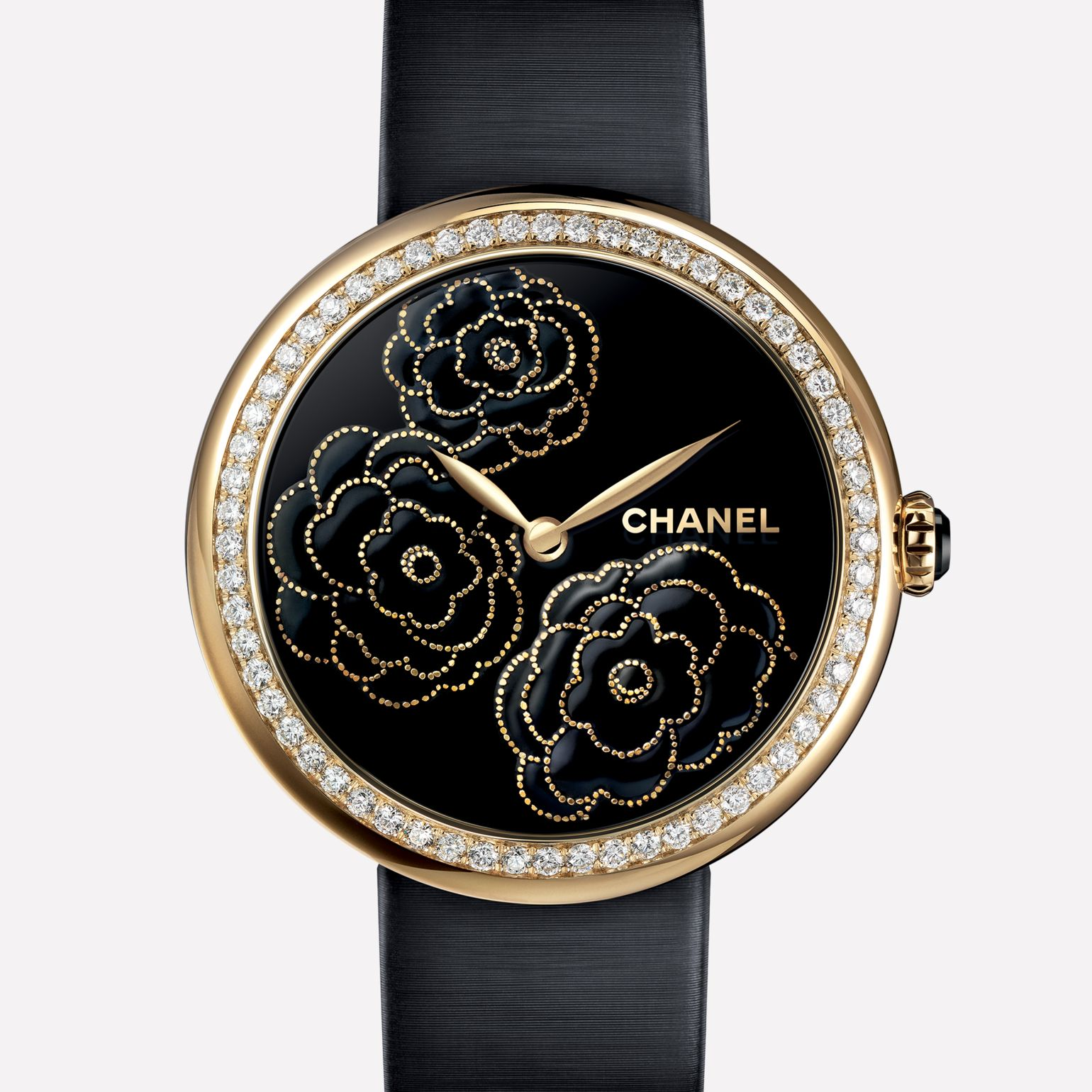 Mademoiselle Privé Watch Camellias in yellow gold, black lacquer dial - Maki-e technique
