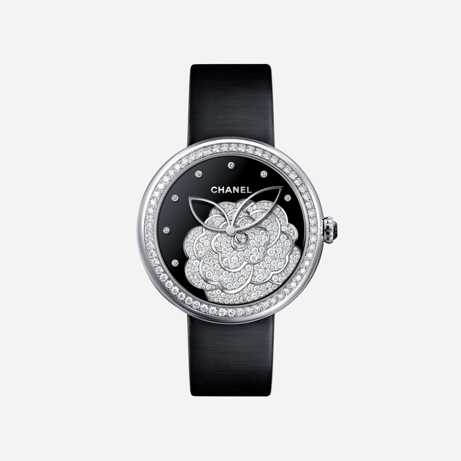 Mademoiselle Privé Watch Camellia set with diamonds, onyx dial, and diamond indicators