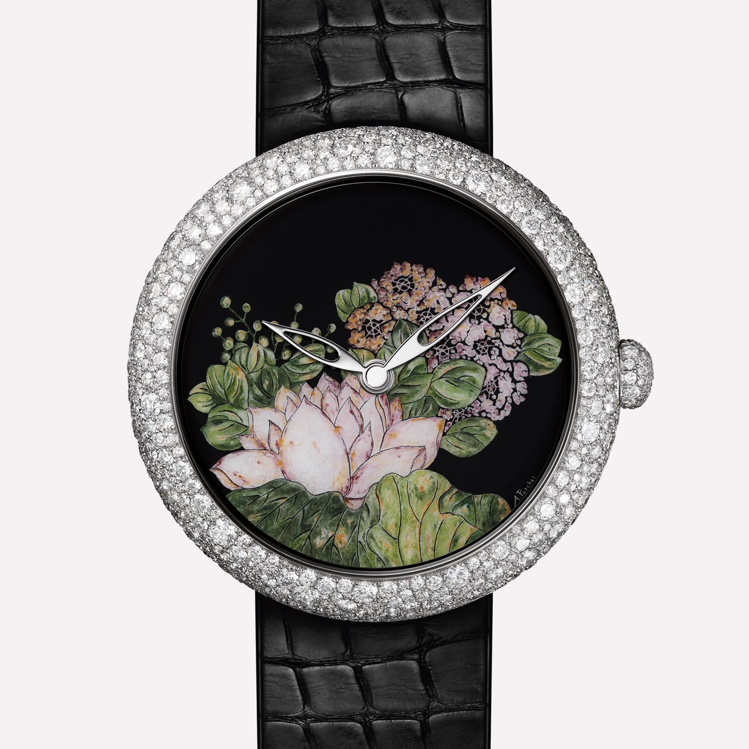 Mademoiselle Privé Watch Rosée matinale : Coromandel created using the Grand Feu enamel miniature technique