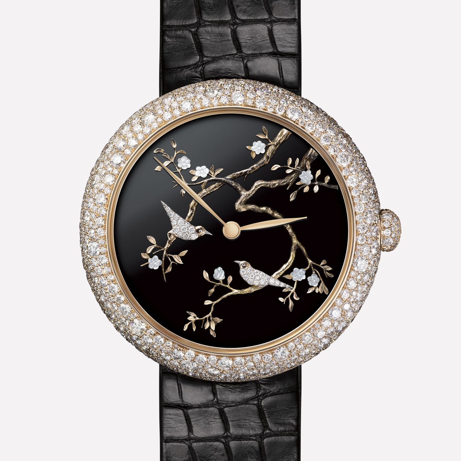 Mademoiselle Privé Watch Coromandel Flying Bird created using the sculpted gold technique