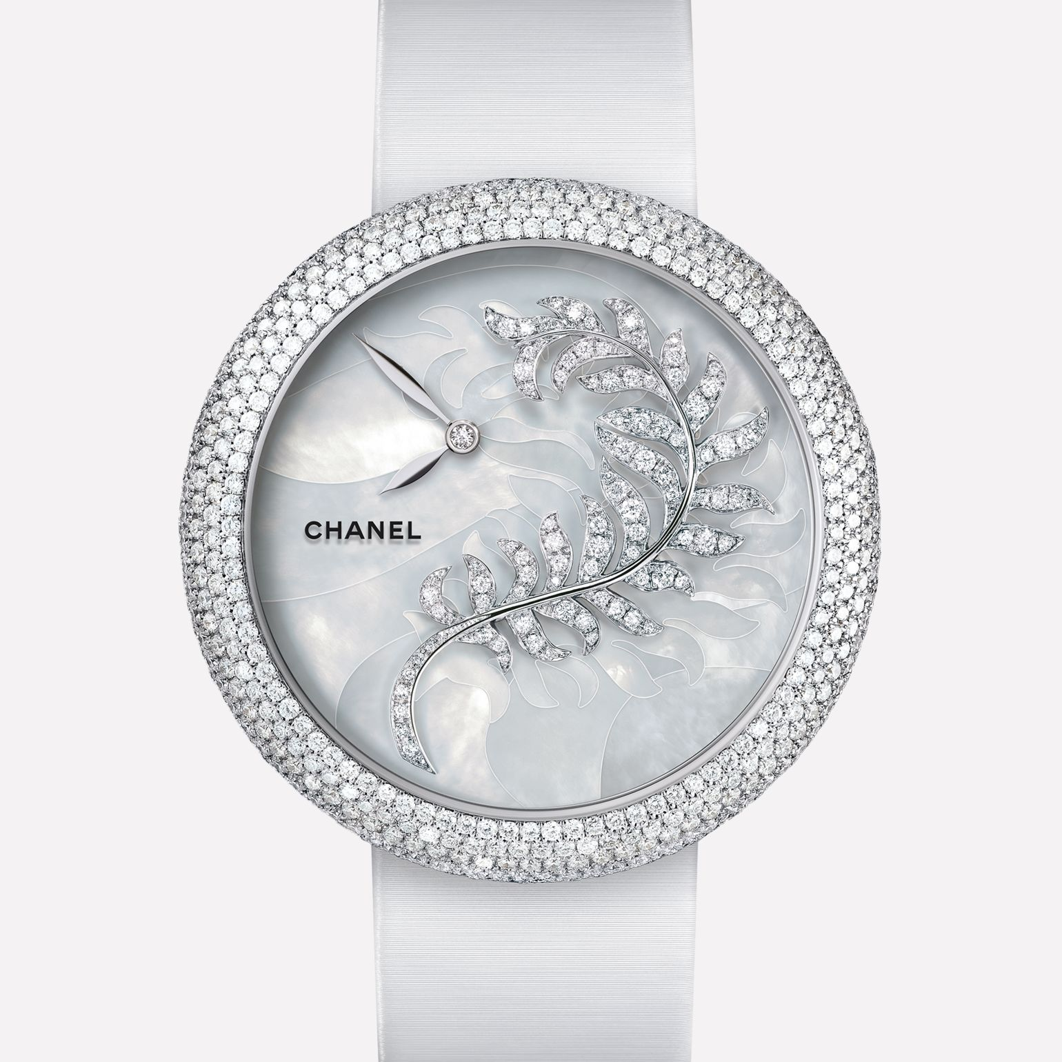 Mademoiselle Privé Watch Bijoux de Diamants Plume jewelry - Pearl marquetry and diamonds