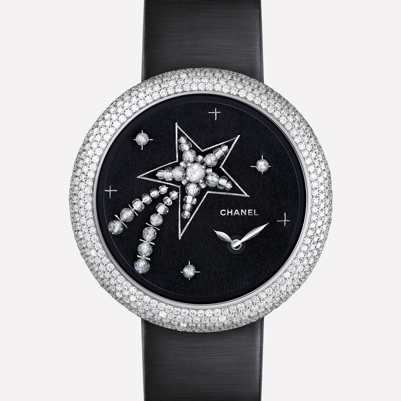 Mademoiselle Privé Watch Comète set with diamonds and glass beads - Lesage embroidery