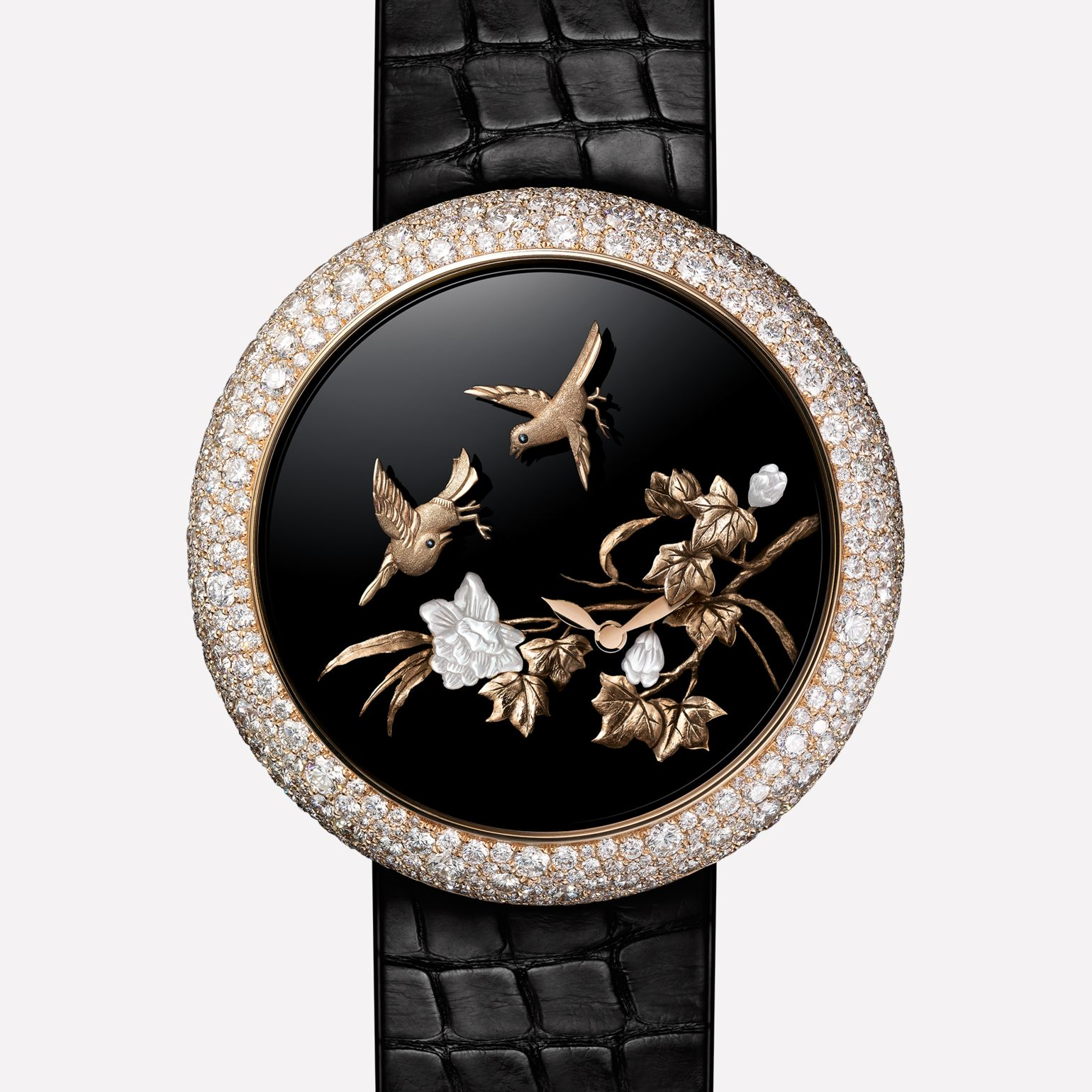 Mademoiselle Privé Watch Les espiègles : Coromandel Flying Birds created using the sculpted gold technique