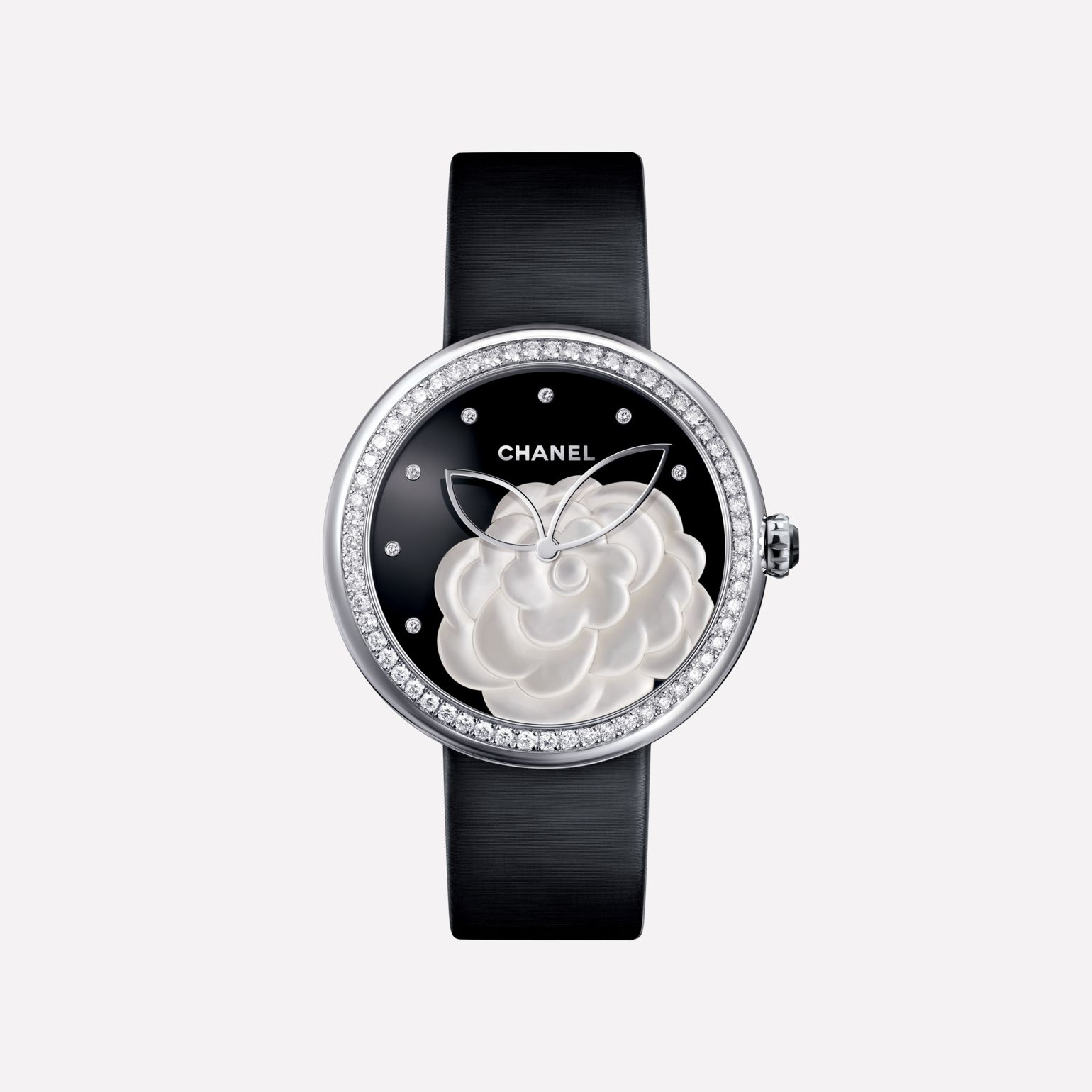 Mademoiselle Privé Camellia in mother-of-pearl marquetry, onyx dial, diamond indicators