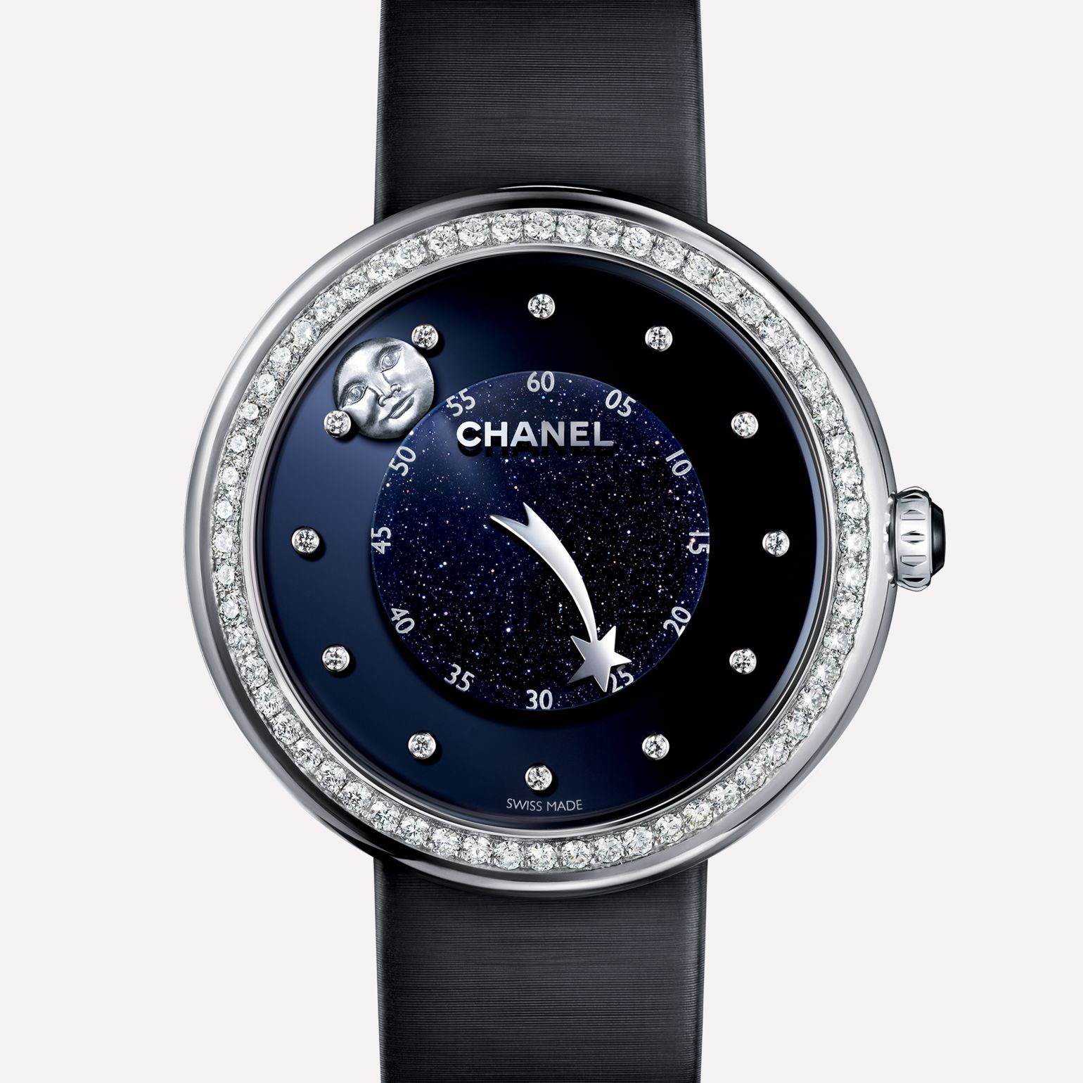 Mademoiselle Privé Aventurine dial, man-in-the-moon and comet motif hands, diamond indicators