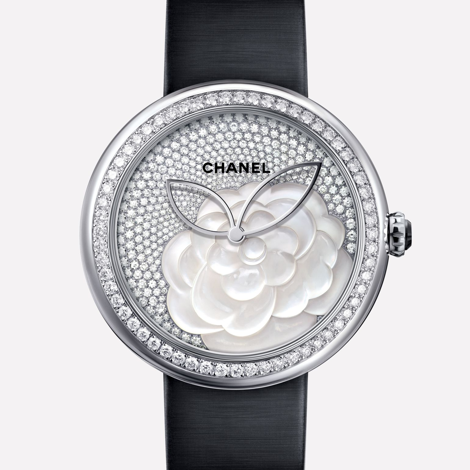 Mademoiselle Privé Camellias in mother-of-pearl marquetry, dial set with diamonds