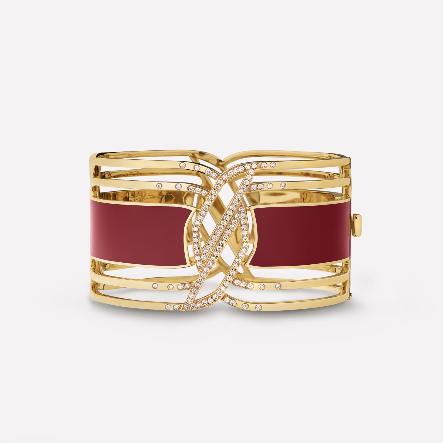 Manchette My Red Or jaune 18 carats, HyCeram® rouge et diamants