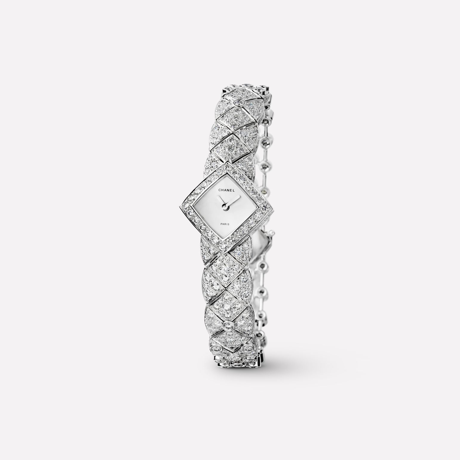 Matelassée Jewelry Watch Quilted motif in 18K white gold and diamonds