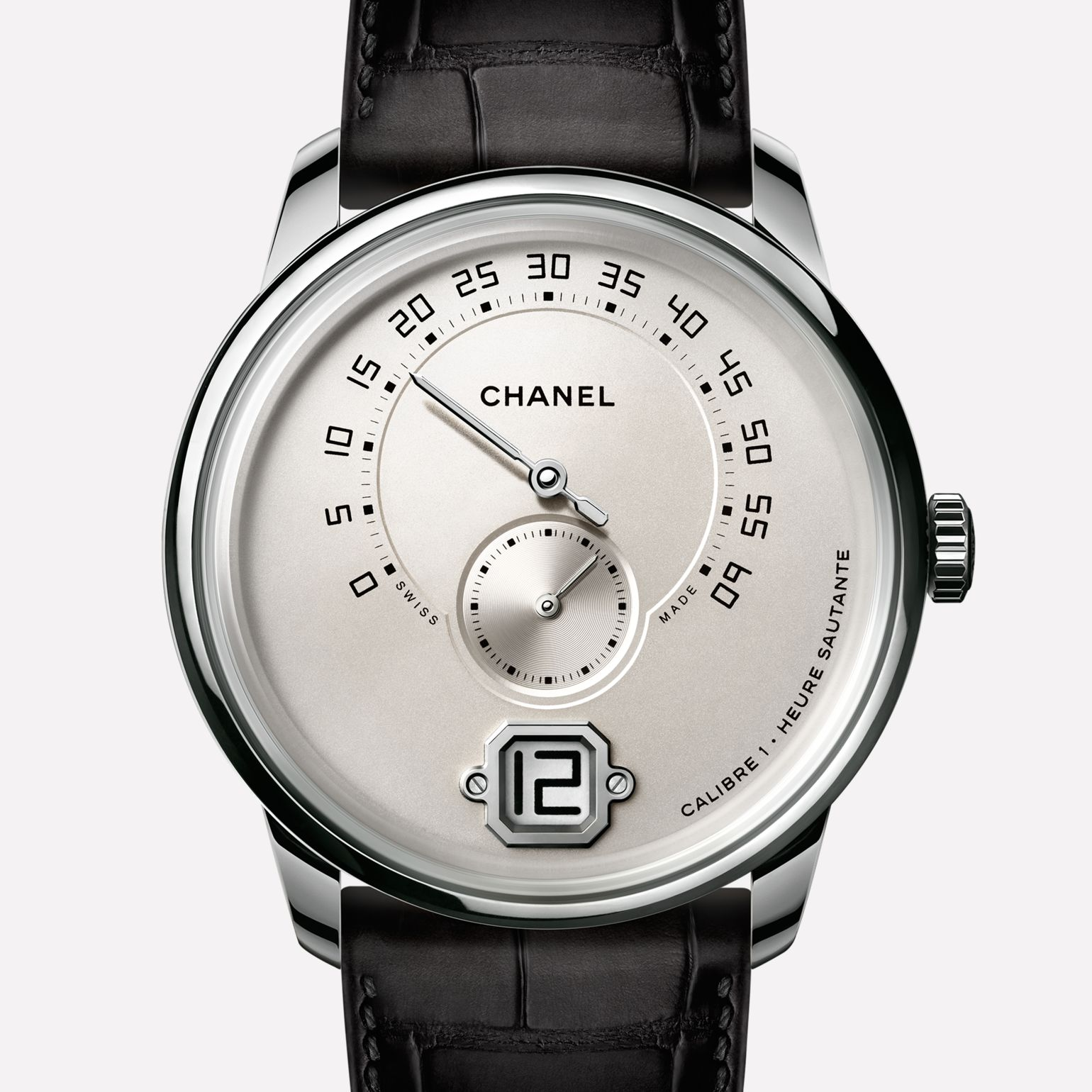 Monsieur Watch White gold, ivory dial with jumping hour, retrograde minute indication at 240° and small second counter
