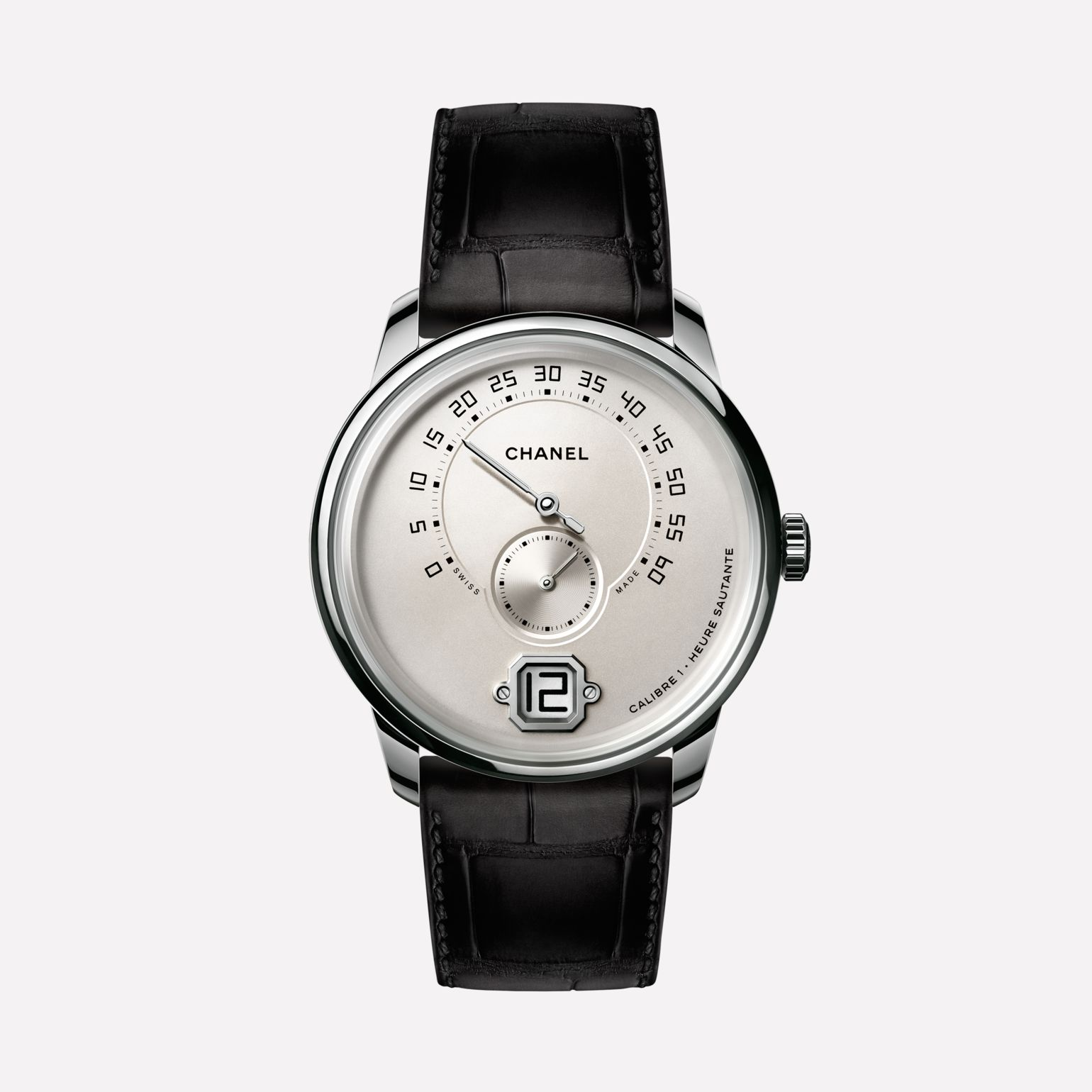 Monsieur Watch White gold, opaline dial with jumping hour, 240° retrograde minute and small second counter