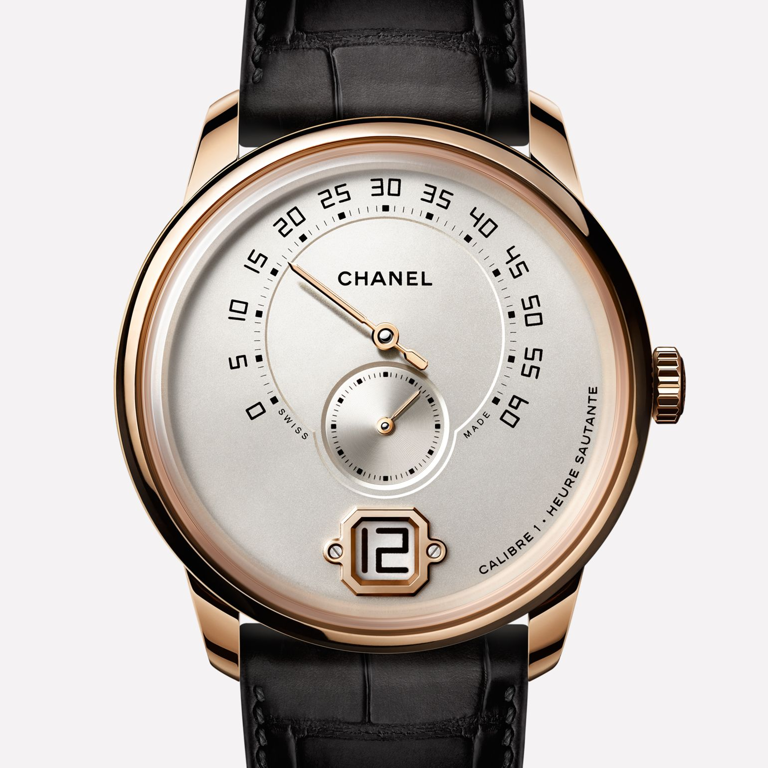 Monsieur Watch BEIGE GOLD, ivory dial with jumping hour, a retrograde minute indication at 240°, and small second counter