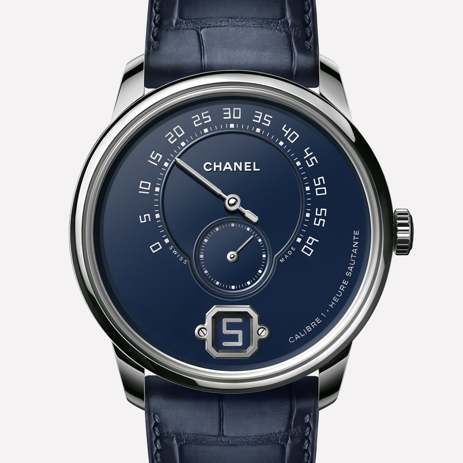 Monsieur Watch Platinum, blue « Grand Feu » enamel dial with jumping hour, retrograde minute indication at 240° and small second counter