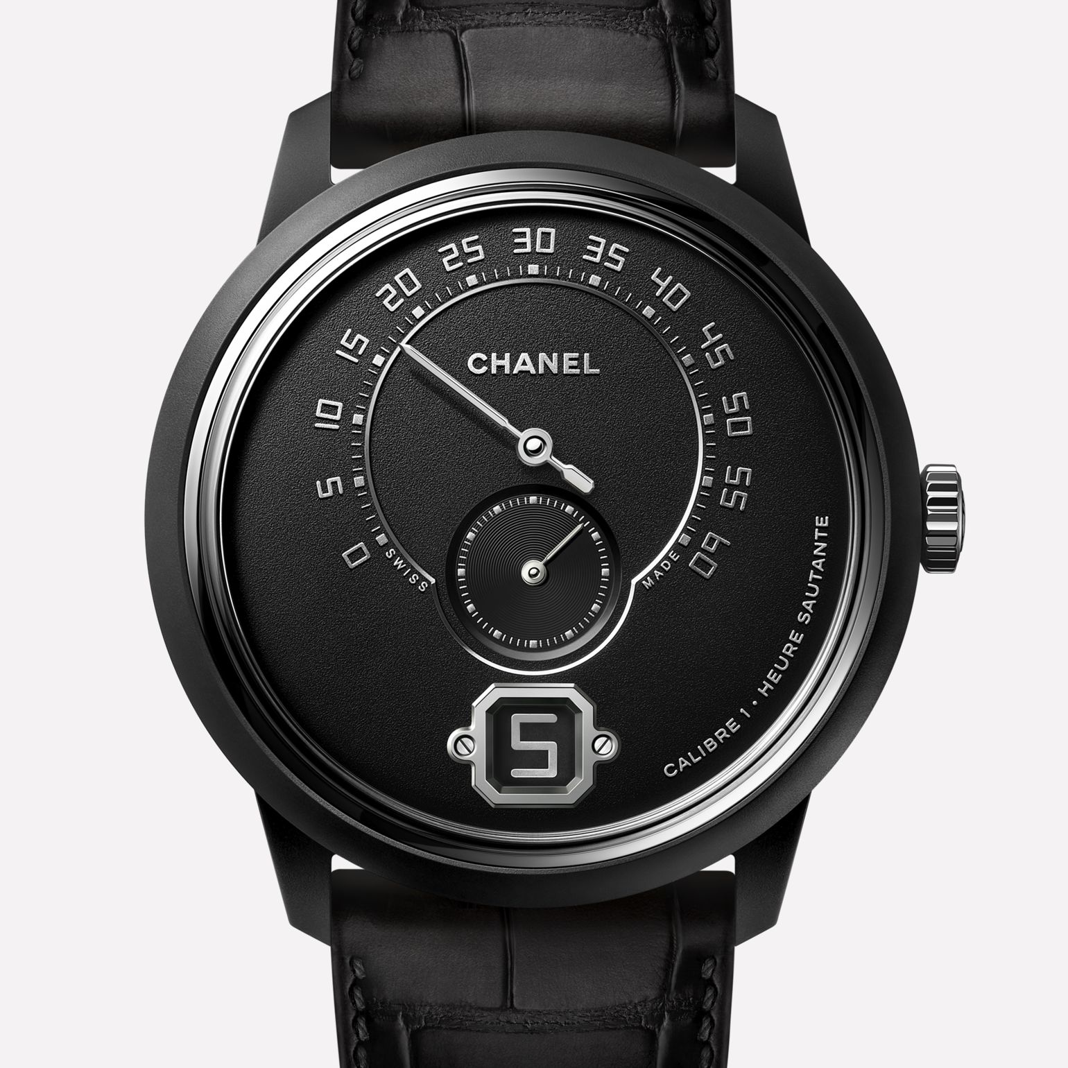 Monsieur Watch Matt black highly resistant ceramic and steel, matt black dial with jumping hour, 240° retrograde minute and small second counter
