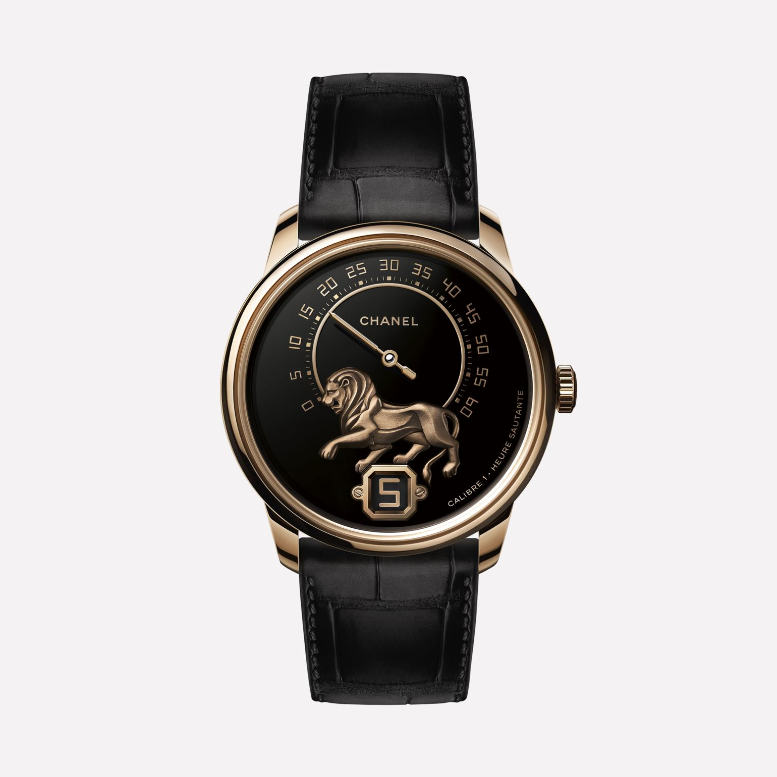 Monsieur Watch BEIGE GOLD,  Grand Feu enamel with gold sculpted lion dial, jumping hour and 240° retrograde minute