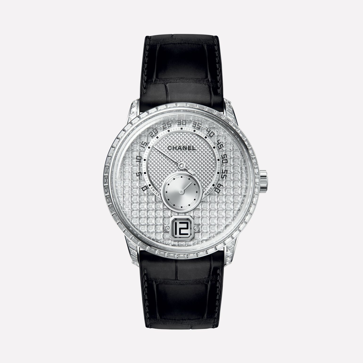 Monsieur Watch 18K white gold, case and dial set with baguette-cut diamonds, jumping hour and 240° retrograde minute
