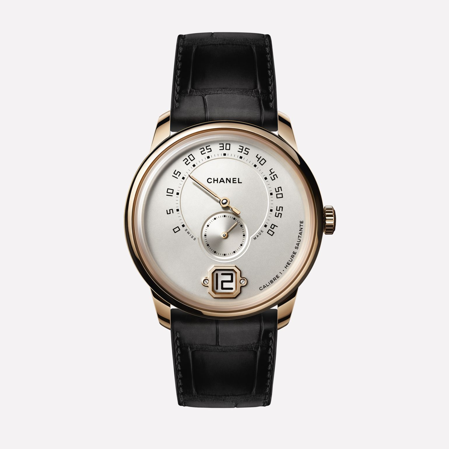 Monsieur Watch BEIGE GOLD, opaline dial with jumping hour, 240° retrograde minute and small second counter