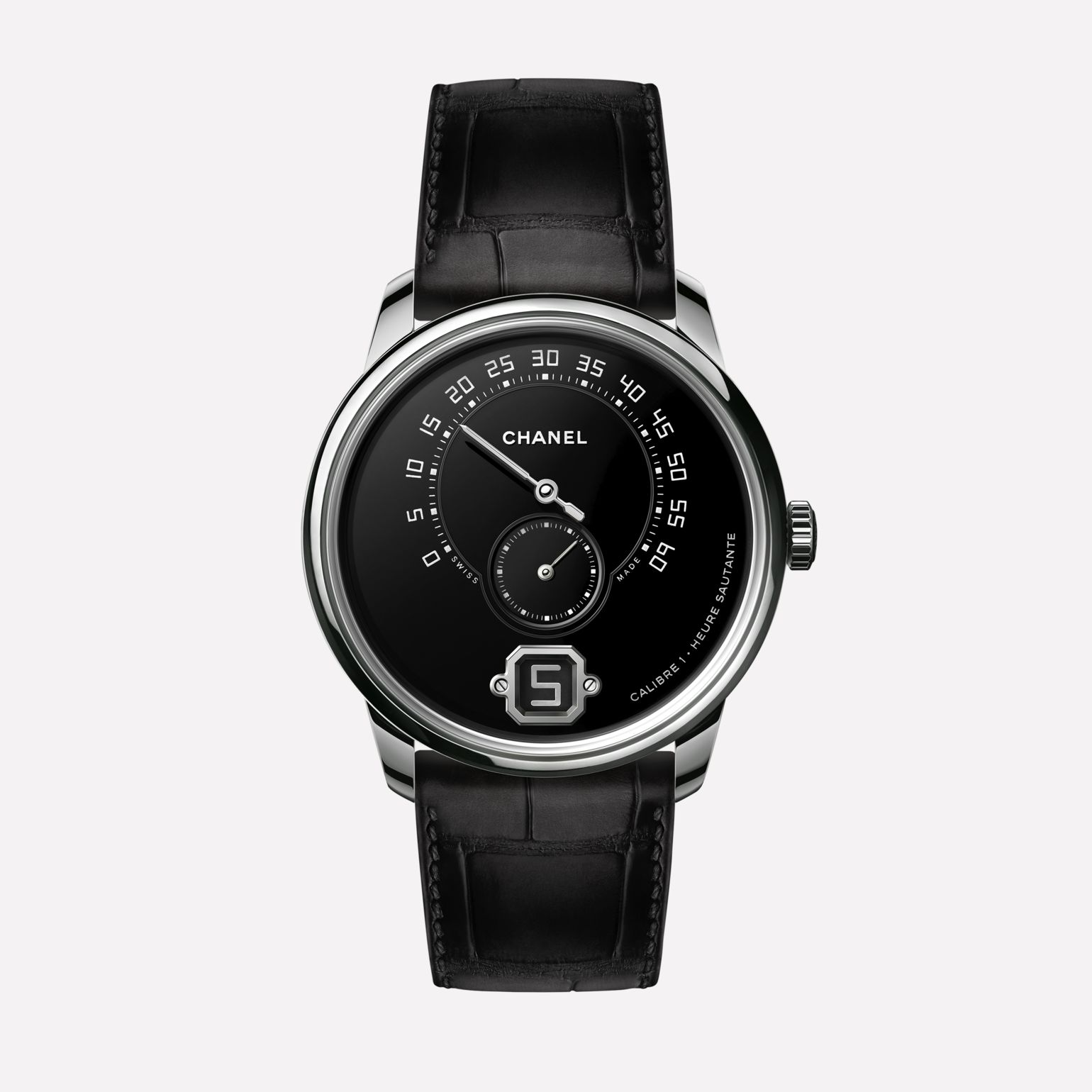 Monsieur Watch Platinum Grand Feu enamel dial with jumping hour, 240° retrograde minute and small second counter