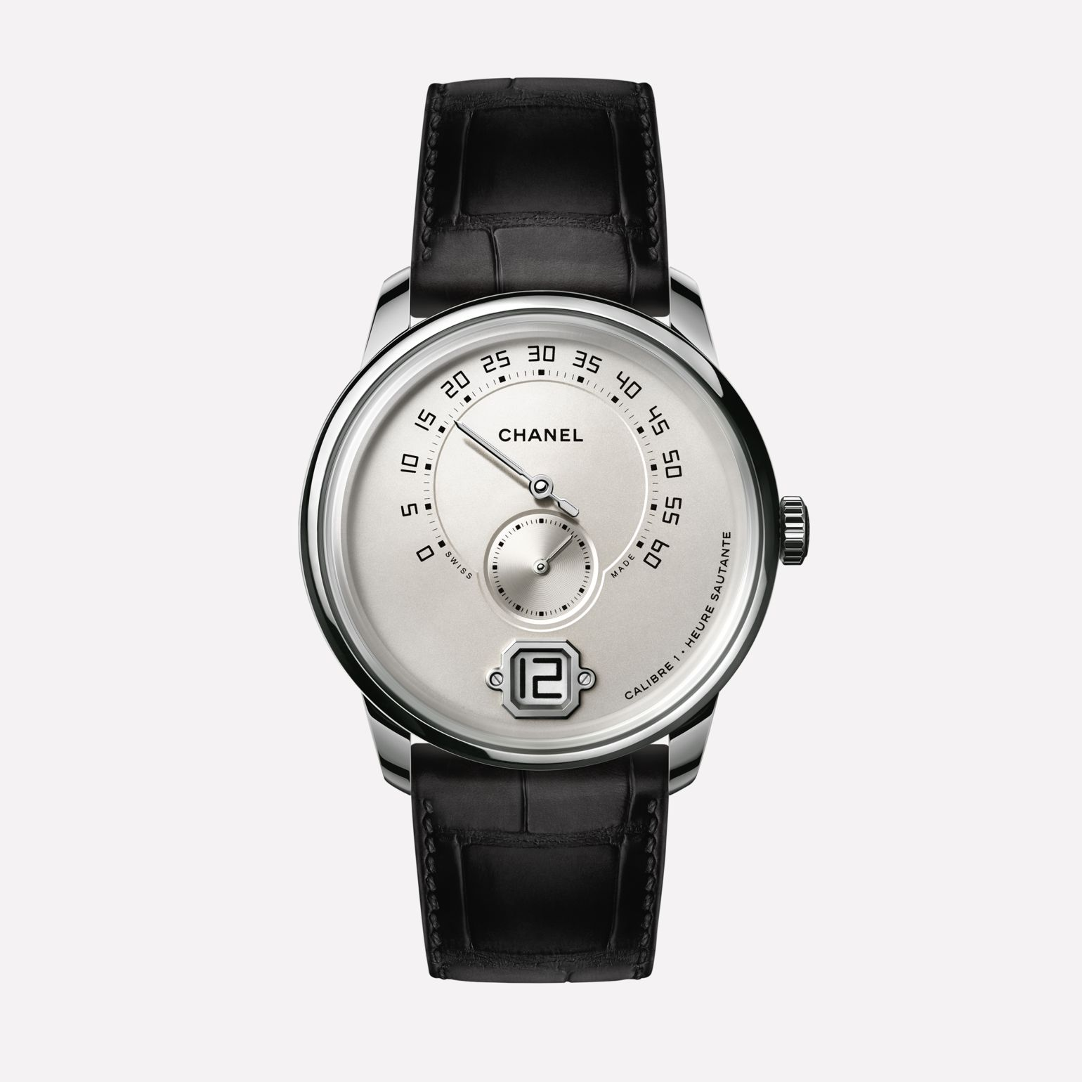 Monsieur Watch White gold opaline with jumping hour, 240° retrograde minute and small second counter