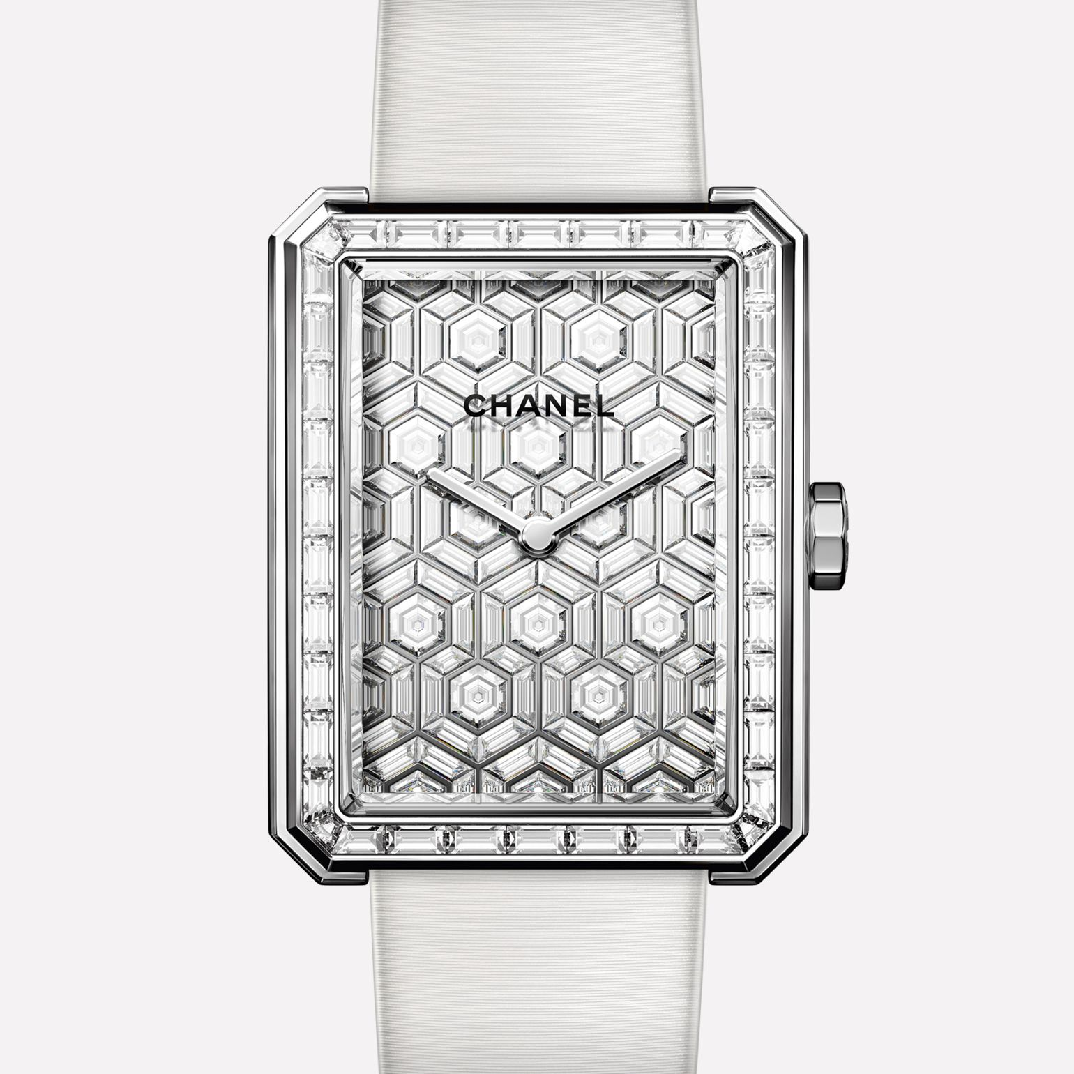 Montre BOY·FRIEND ARTY DIAMONDS Grand modèle, or blanc et cadran sertis de diamants, bracelet satin