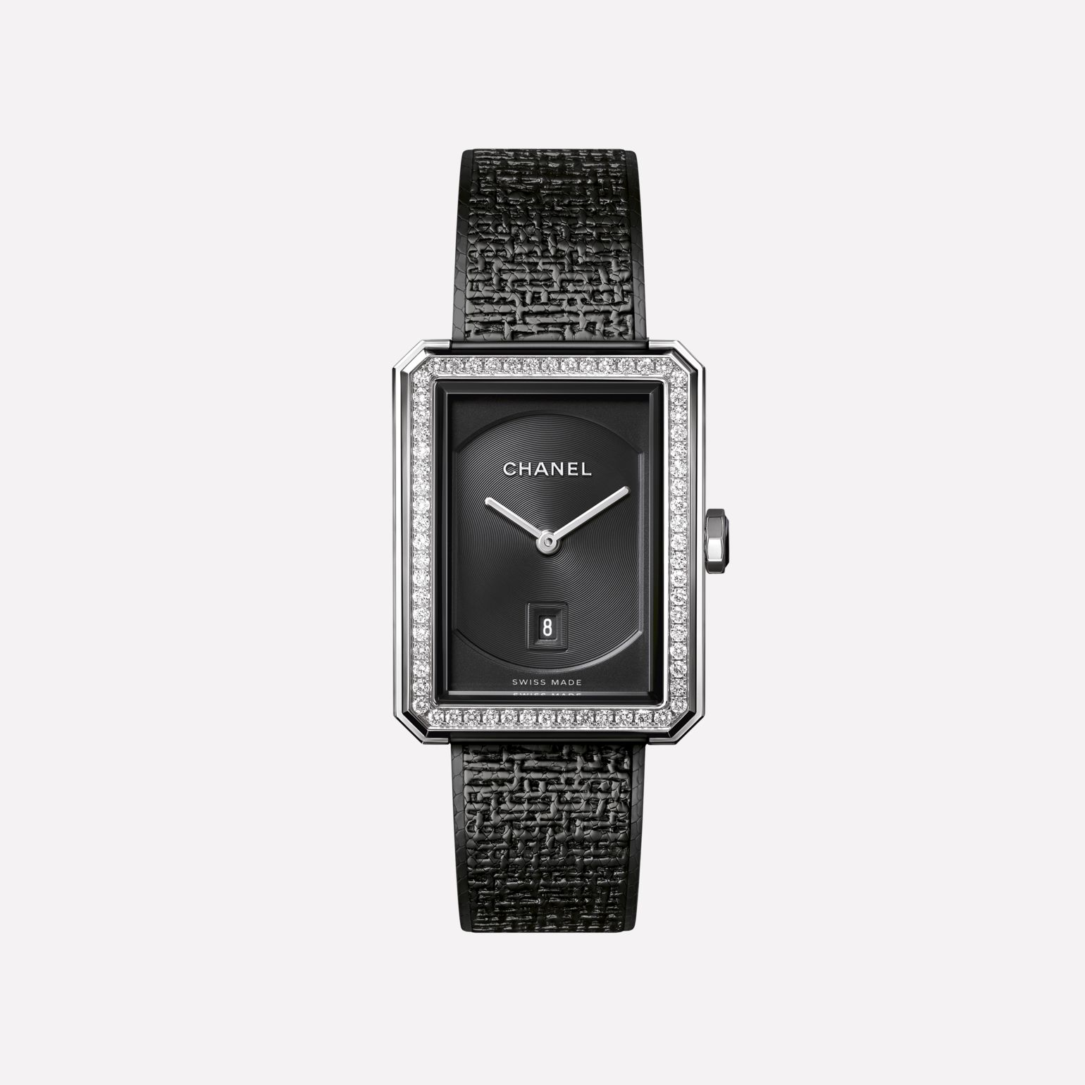 Montre BOY·FRIEND TWEED Moyen modèle, acier serti de diamants