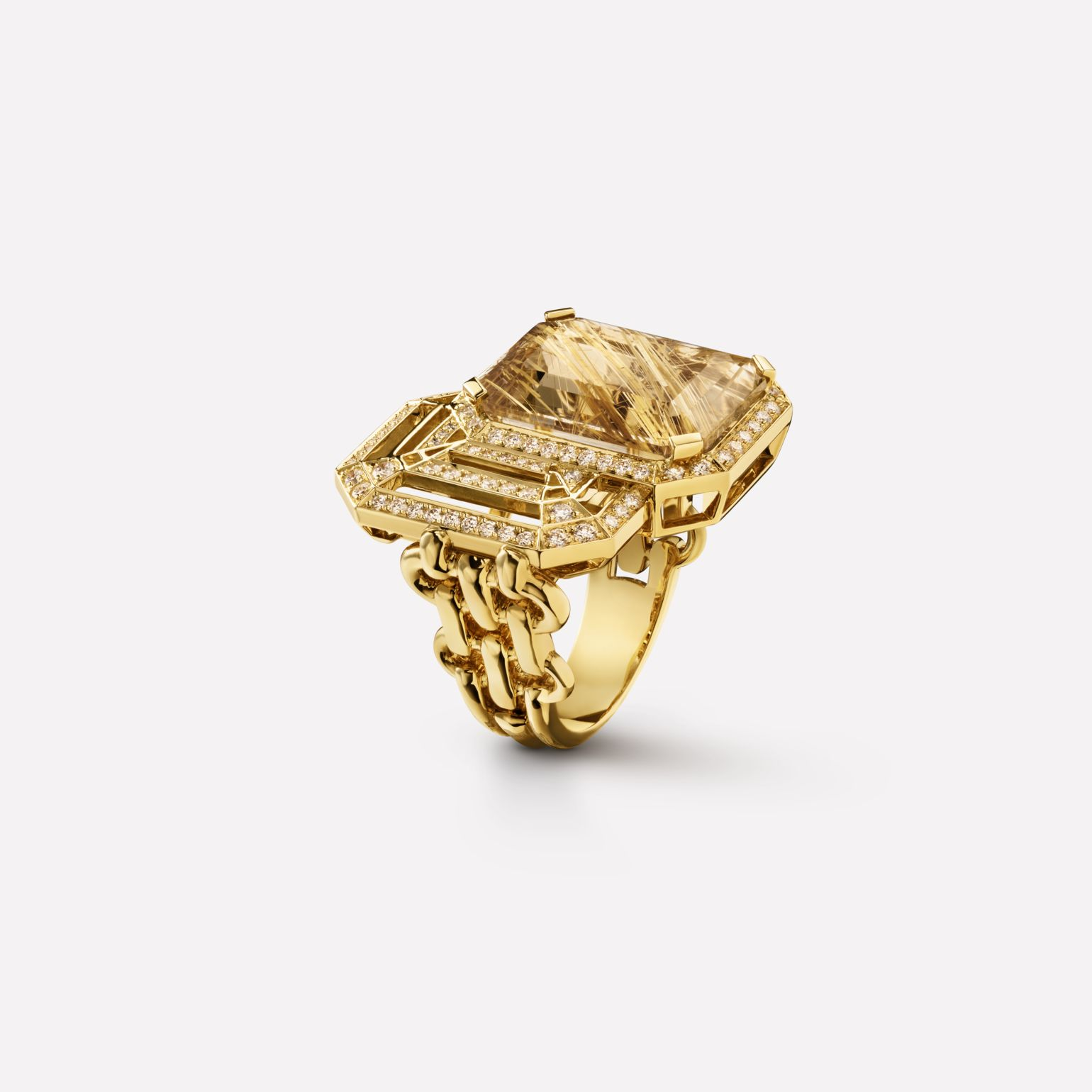 My Chain ring Large version in 18K yellow gold, rutilated smoky quartz and diamonds