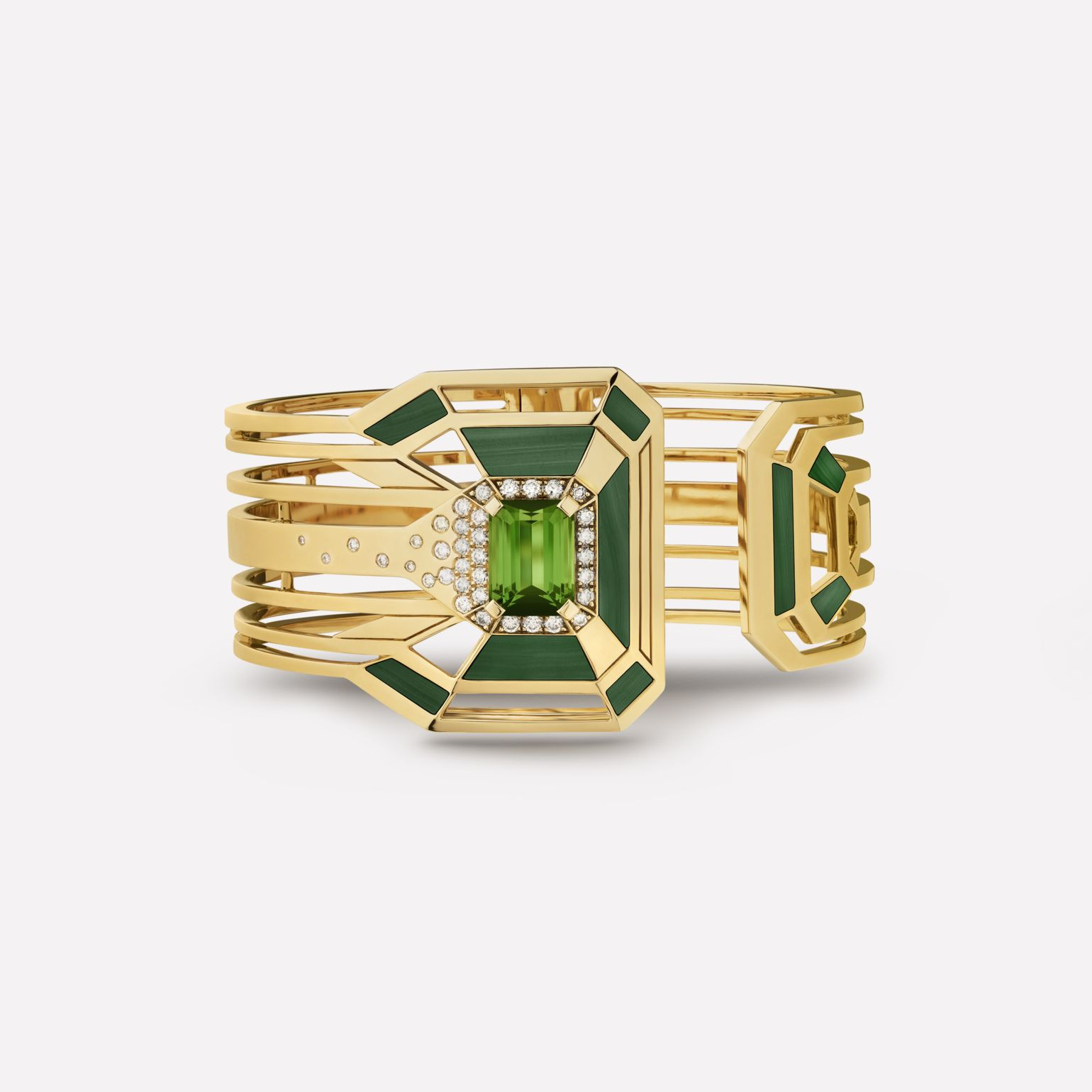 My Green cuff 18K yellow gold, malachite, tourmaline and diamonds