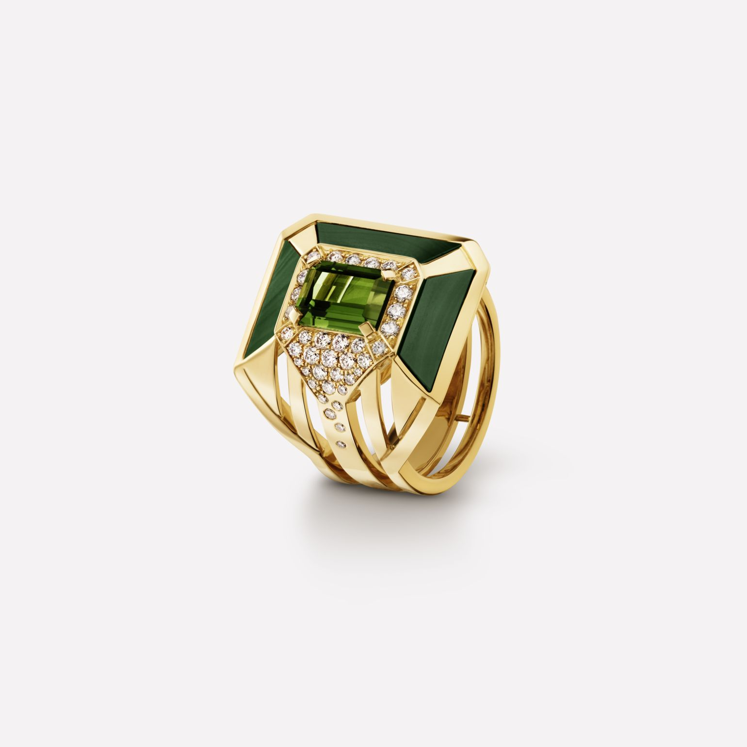 My Green ring 18K yellow gold, malachite, tourmaline and diamonds