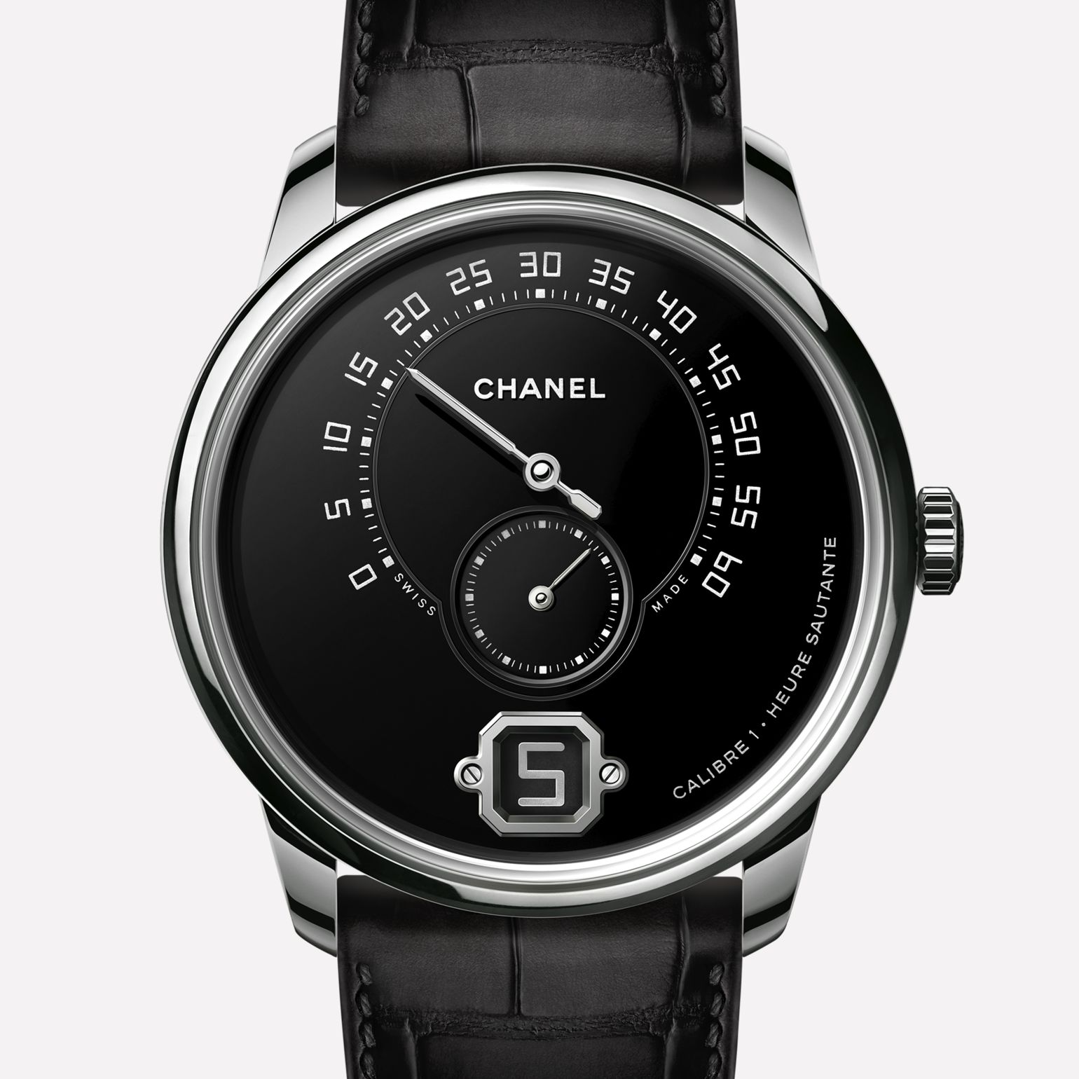 Orologio Monsieur de CHANEL Platino, quadrante in smalto Grand Feu con ore saltanti, minuti <br>retrogradi a 240 gradi e contatore dei piccoli secondi.