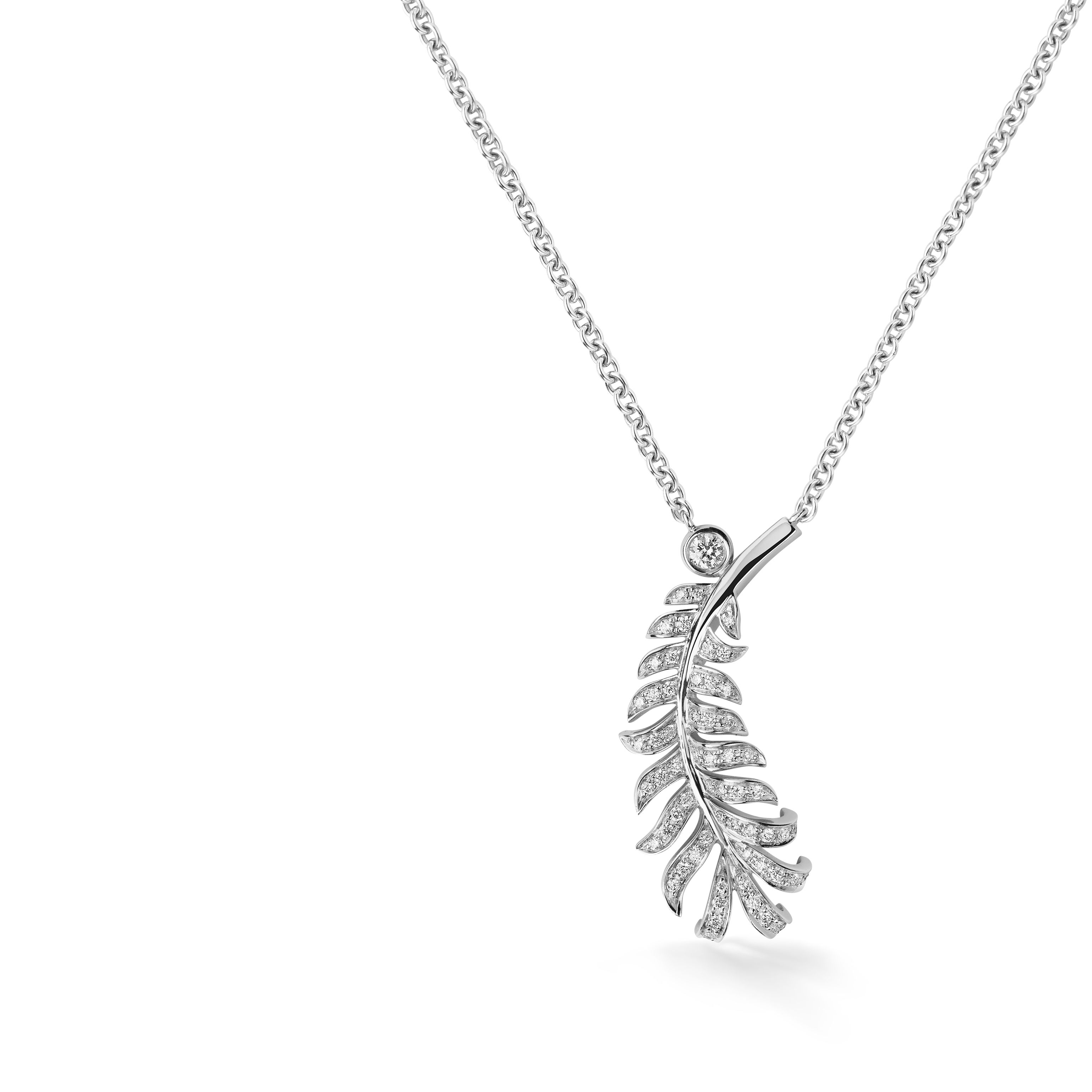 chanel necklace. name: plume de chanel necklace; reference: j4142; collection: chanel; category: necklaces; materials: white golddiamond chanel necklace