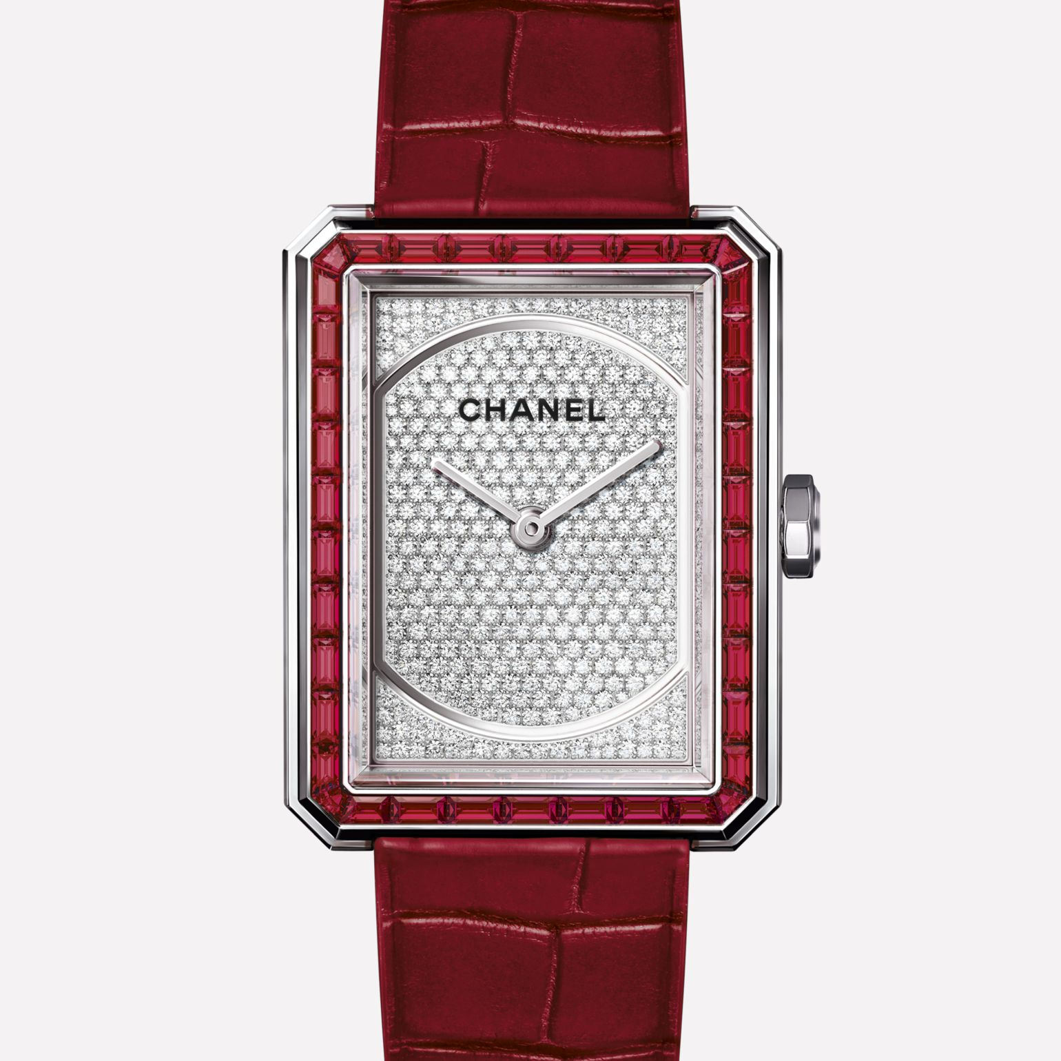 PREMIÈRE∙BOY DE CHANEL RUBIS Medium version, white gold set with rubies and diamonds and alligator strap