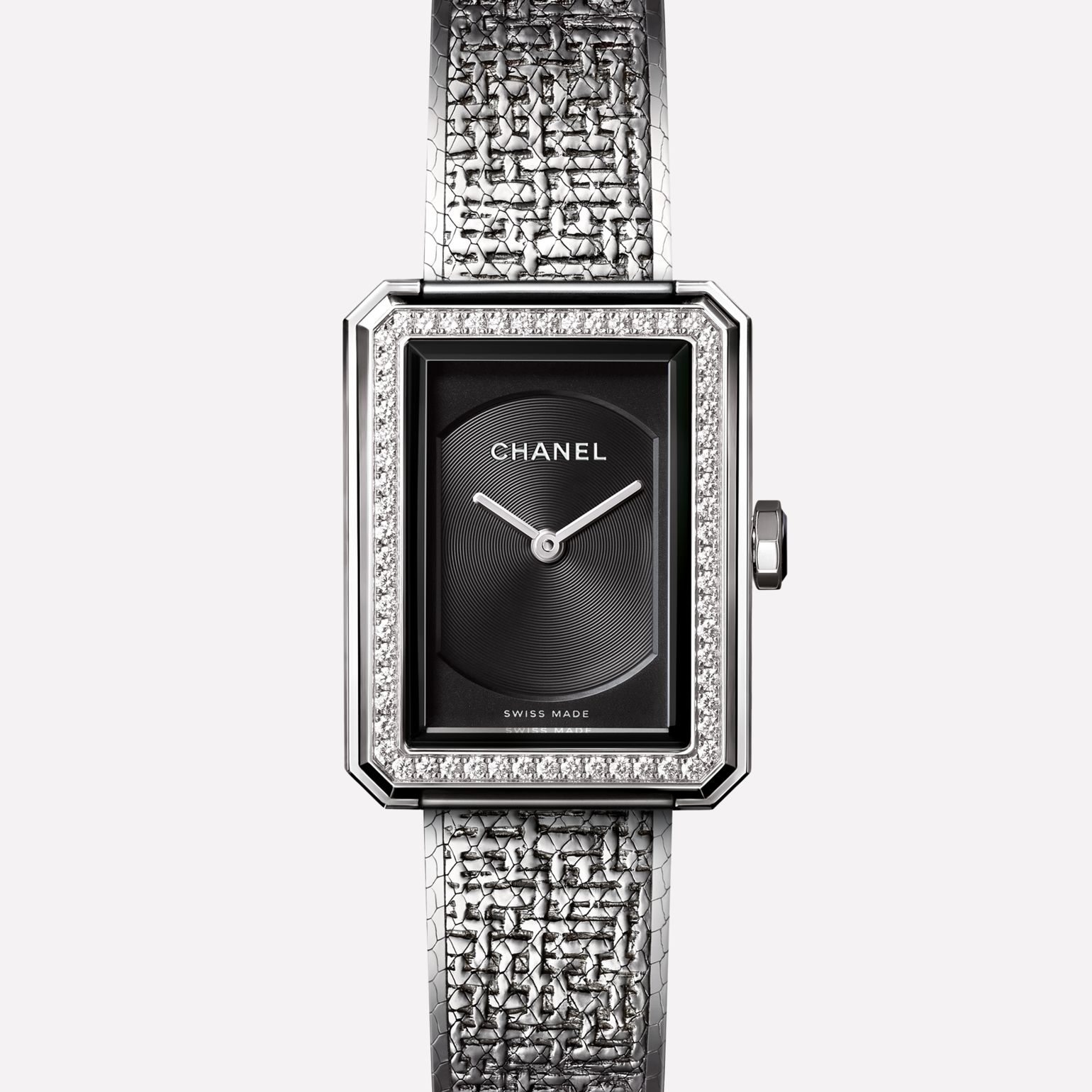 PREMIÈRE∙BOY DE CHANEL TWEED Small version, steel set with diamonds