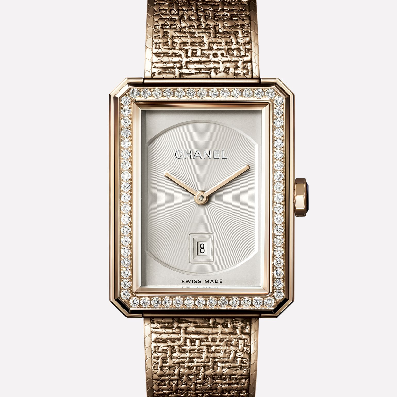 PREMIÈRE·BOY DE CHANEL TWEED Medium version, BEIGE GOLD set with diamonds