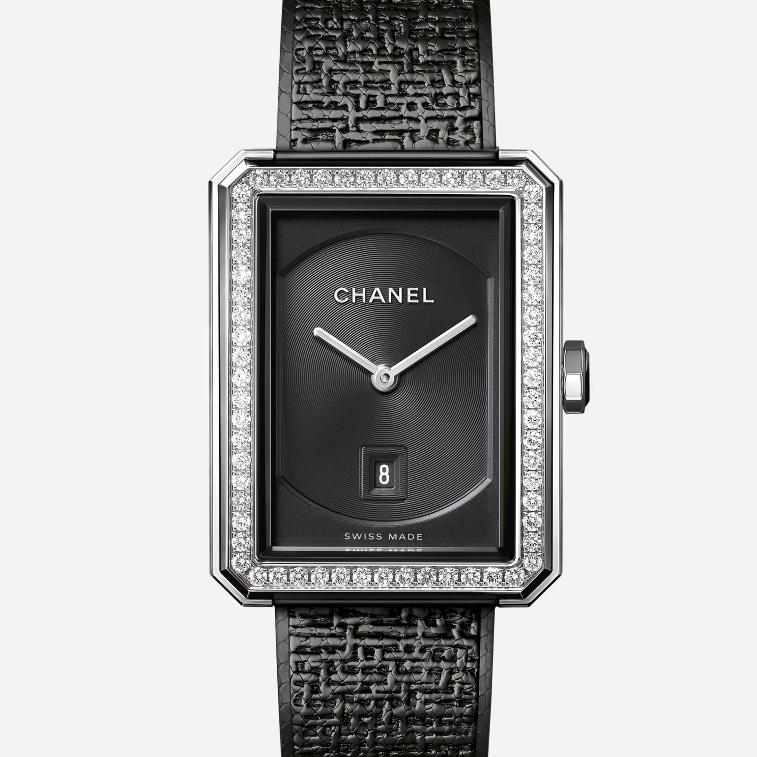 PREMIÈRE·BOY DE CHANEL TWEED Medium version, steel set with diamonds