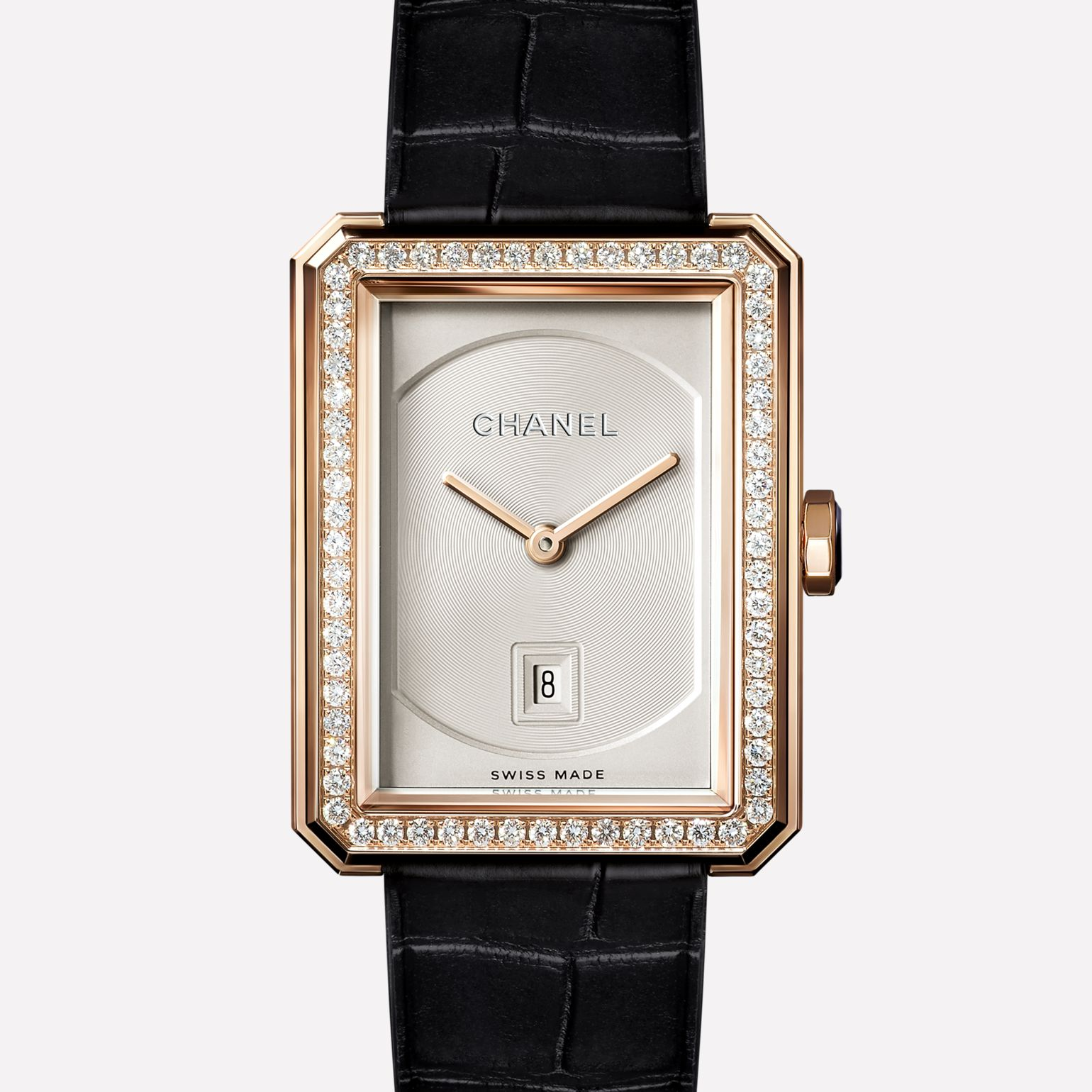 PREMIÈRE∙BOY DE CHANEL Medium version, BEIGE GOLD set with diamonds and alligator strap