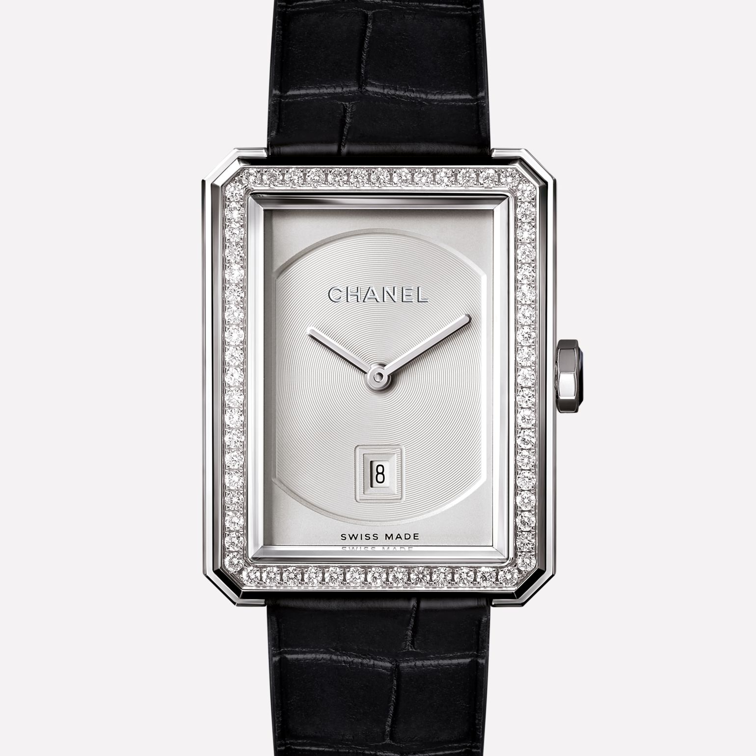 PREMIÈRE∙BOY DE CHANEL Medium version, white gold set with diamonds and alligator strap