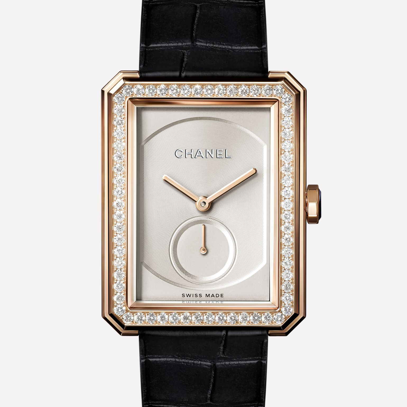 PREMIÈRE∙BOY DE CHANEL Large version, BEIGE GOLD set with diamonds and alligator strap