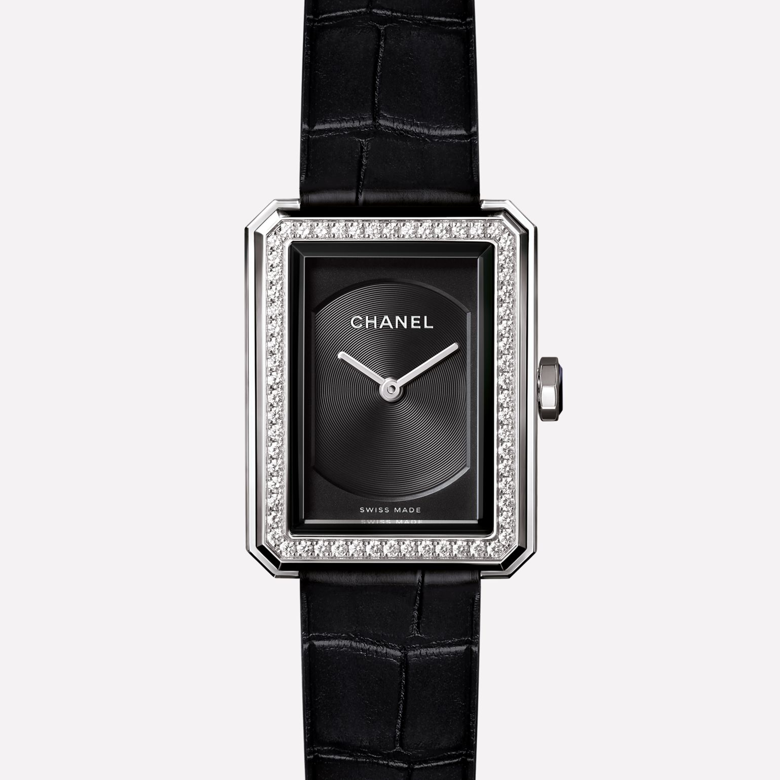 PREMIÈRE∙BOY DE CHANEL Small version, steel set with diamonds and alligator strap