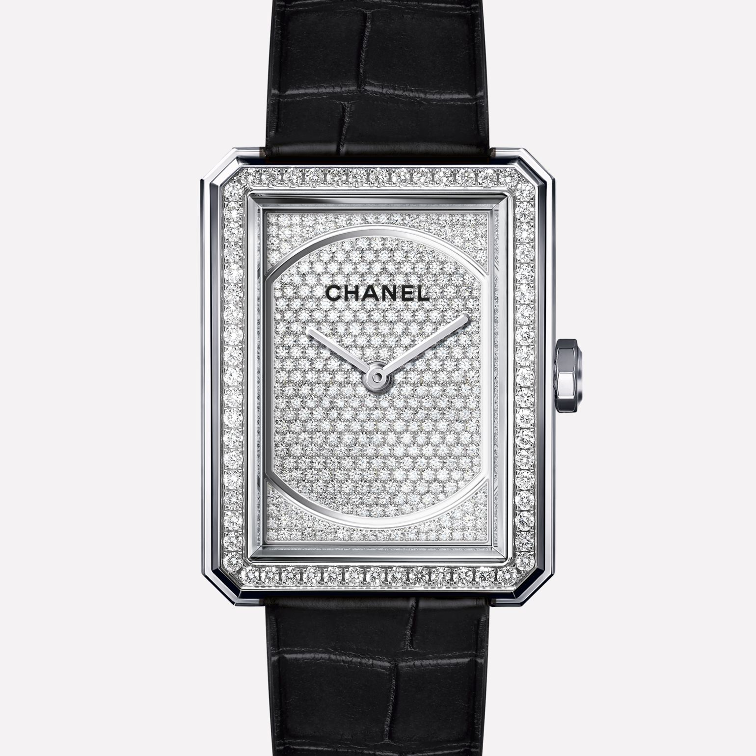 PREMIÈRE∙BOY DE CHANEL Medium version, white gold and dial set with diamonds, alligator strap