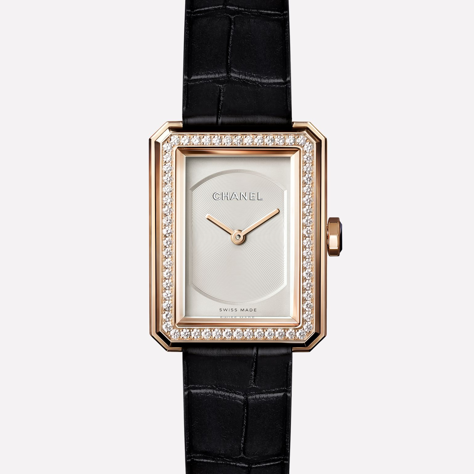 PREMIÈRE·BOY Small version, BEIGE GOLD set with diamonds and alligator strap