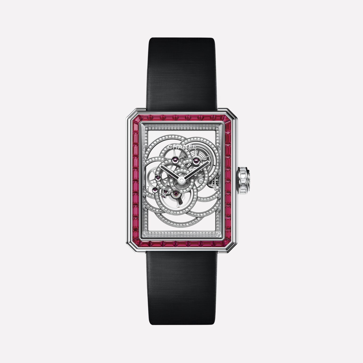 Première Camélia Skeleton Rubis Watch White gold, case and bezel set with rubies