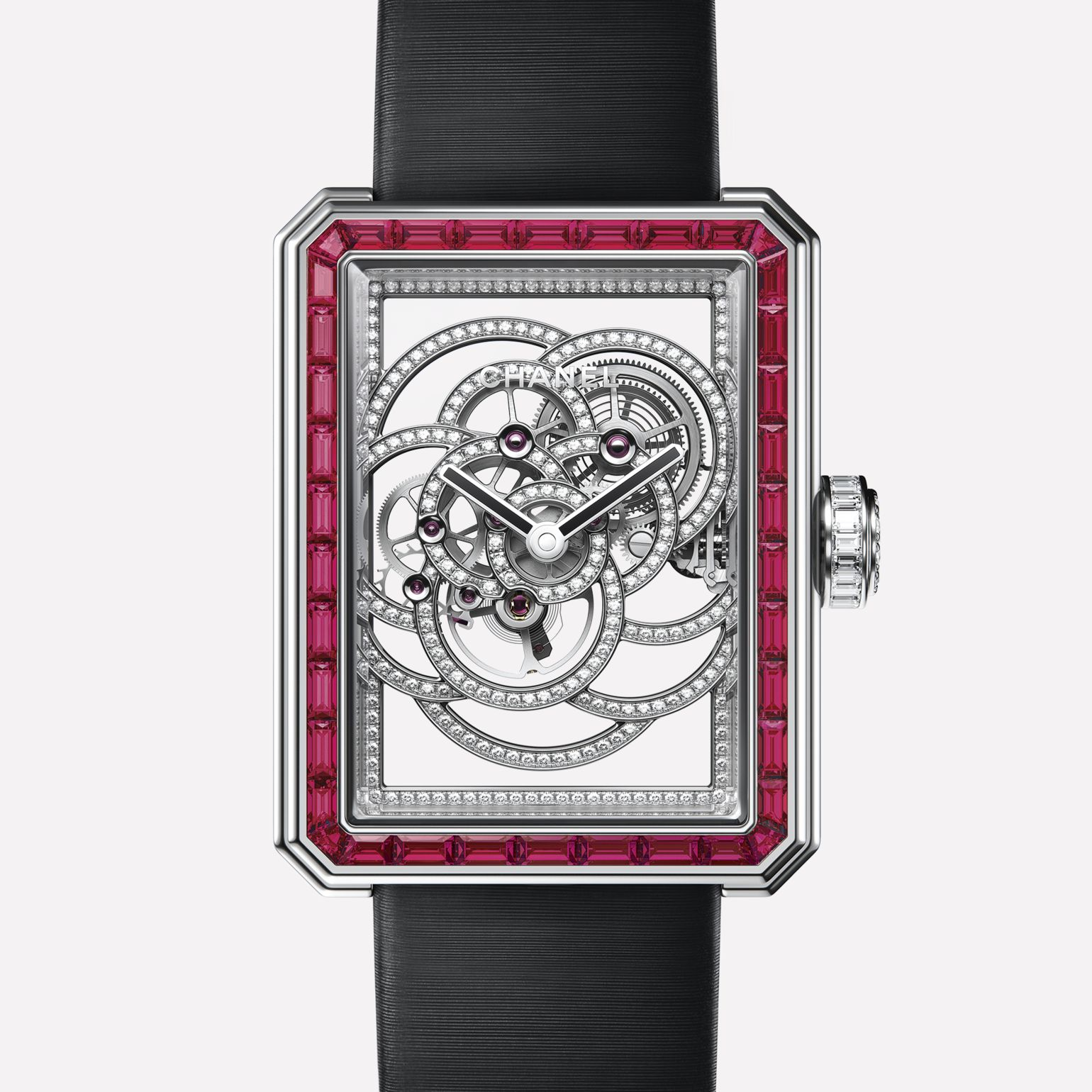 Première Camélia Skeleton Rubis White gold, case and bezel set with rubies