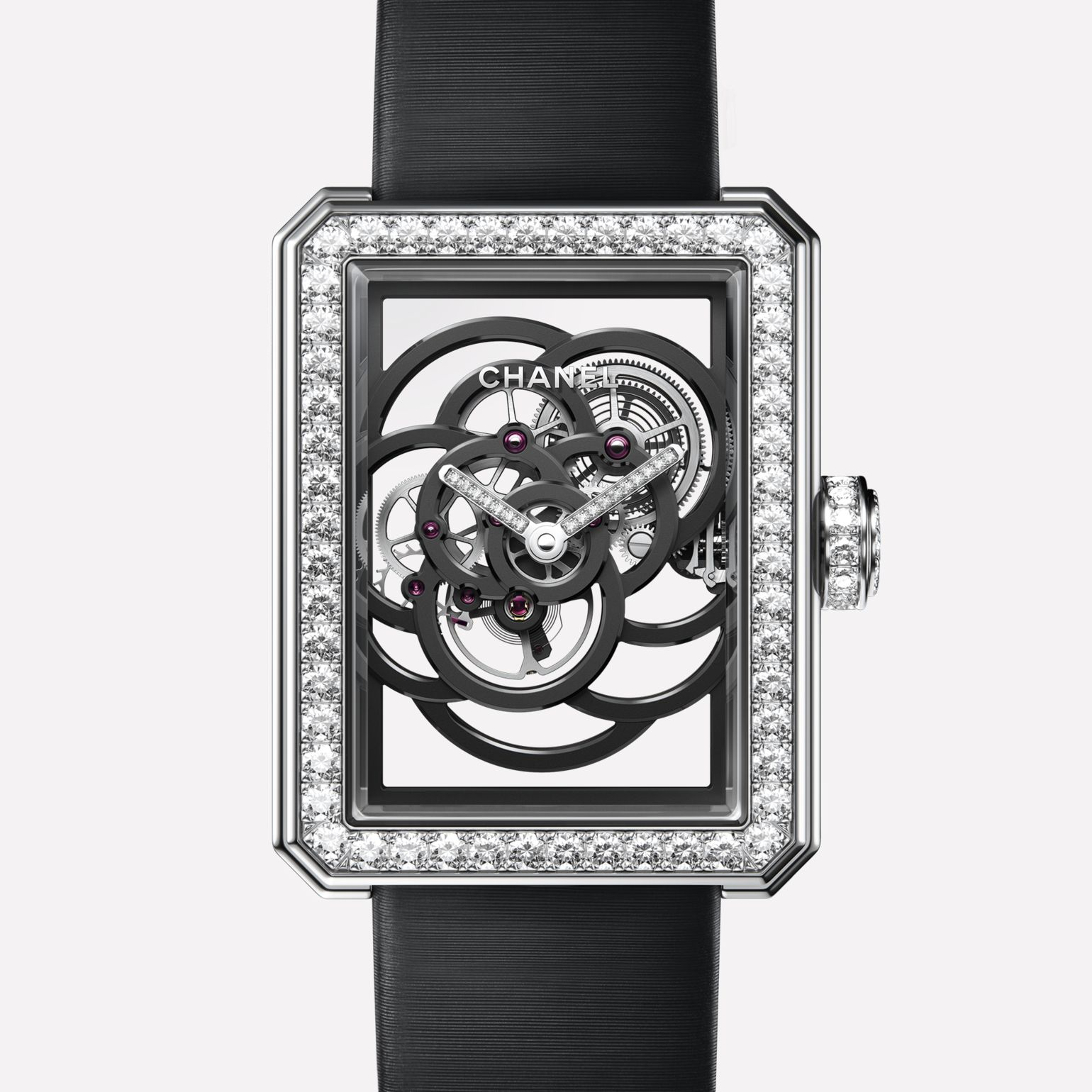 Première Camélia Skeleton Watch White gold, case, bezel, hands and crown set with brilliant-cut diamonds